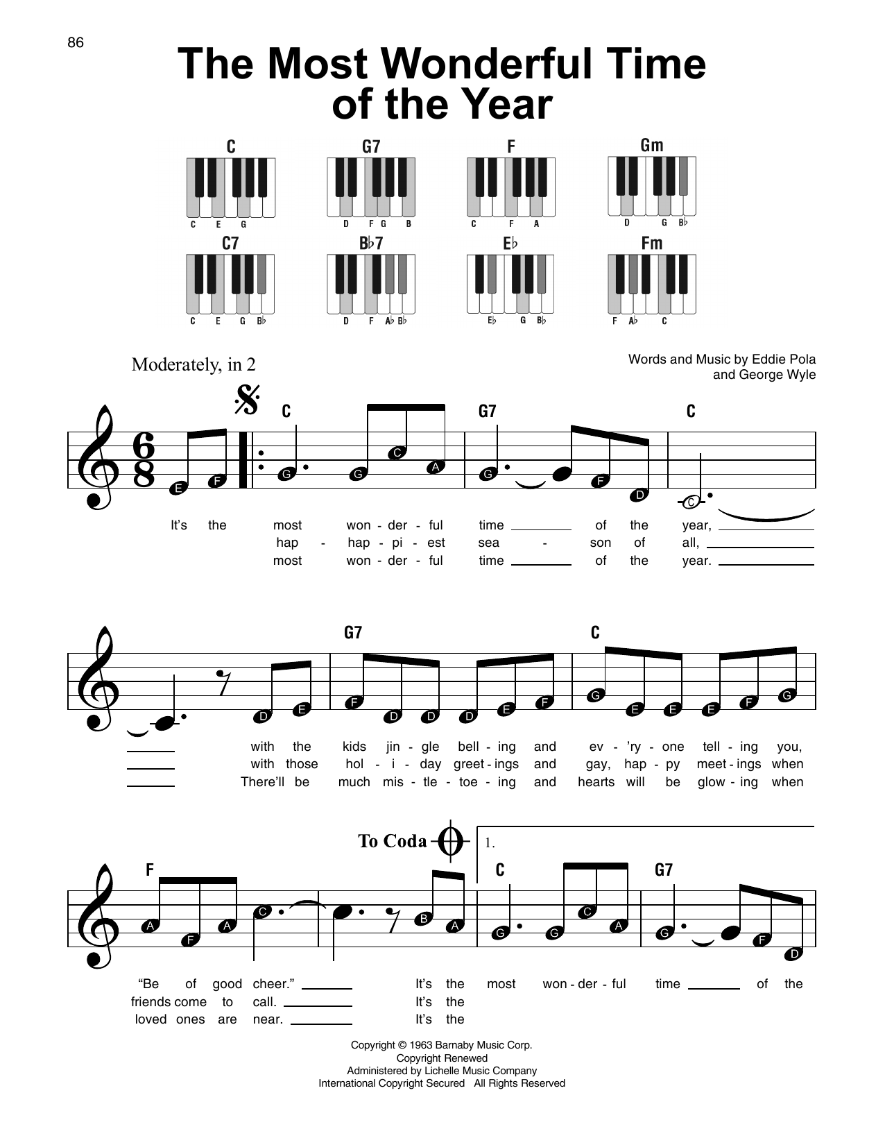 The Most Wonderful Time Of The Year (Super Easy Piano)