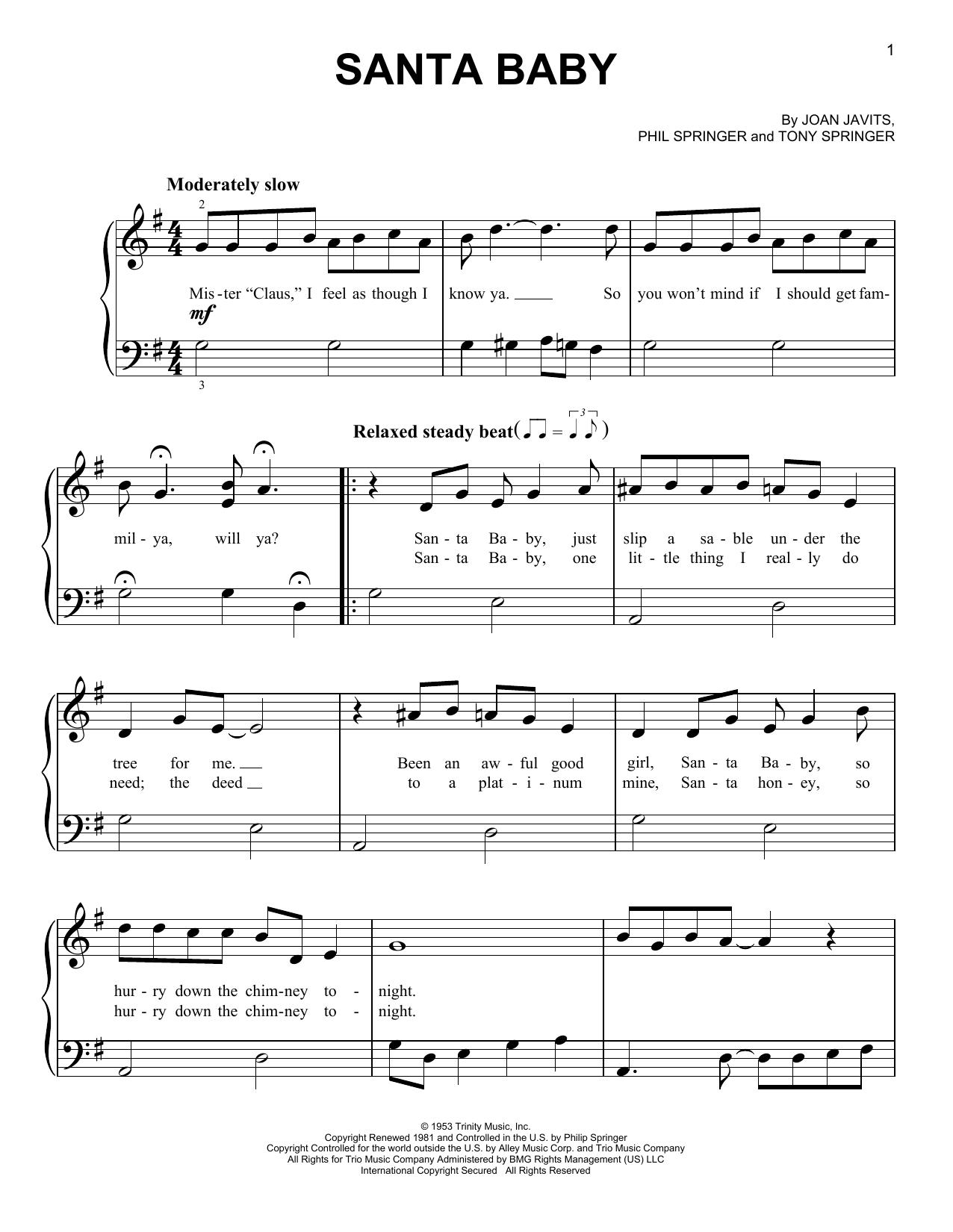 Santa Baby (Very Easy Piano)