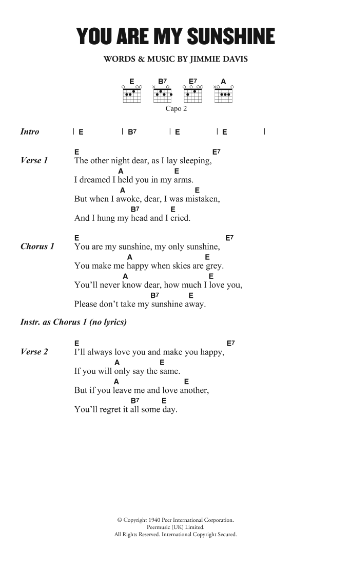 You Are My Sunshine by Norman Blake - Guitar Chords/Lyrics - Guitar ...
