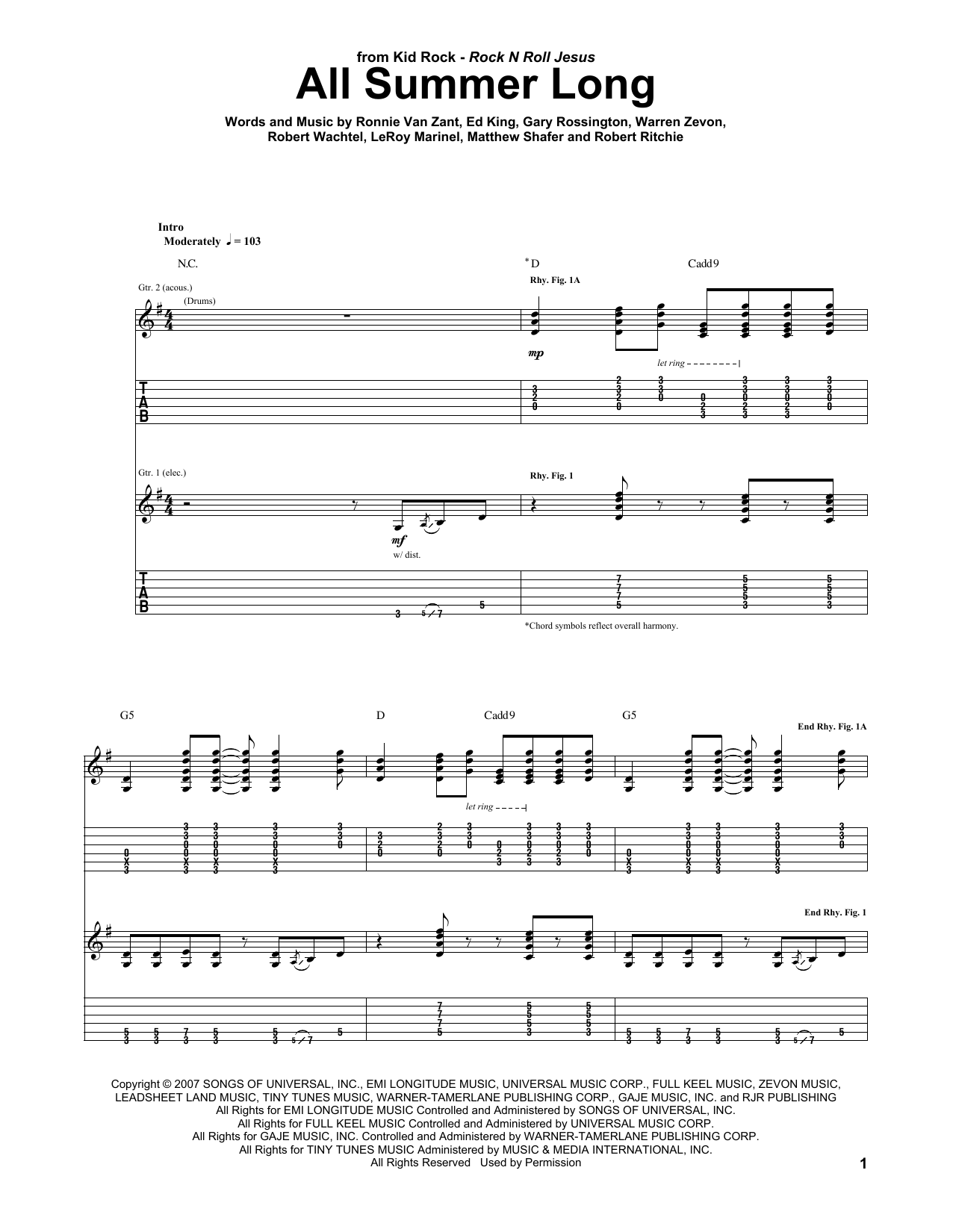 All summer long by kid rock guitar tab guitar instructor the most accurate tab hexwebz Images