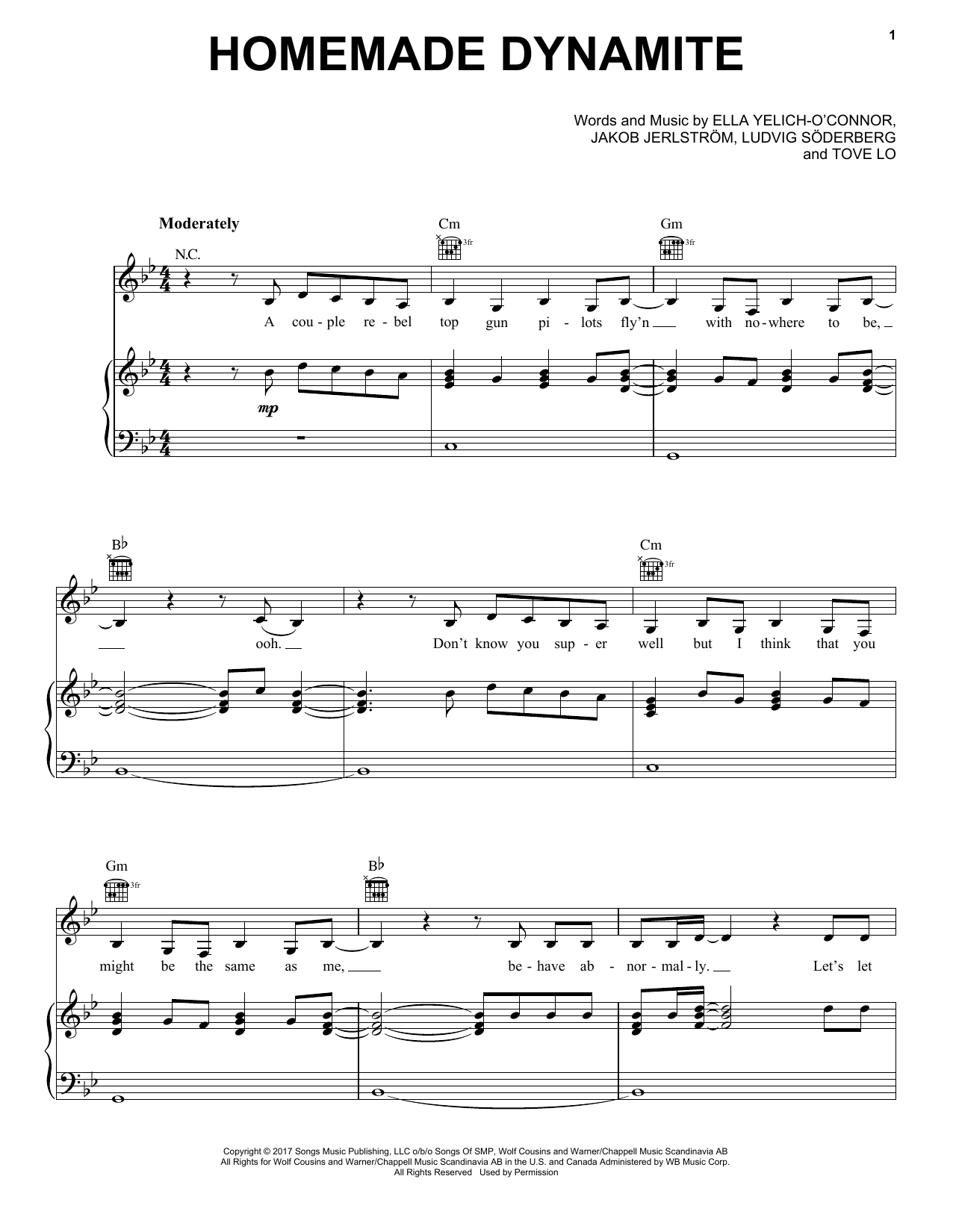 Homemade Dynamite (Piano, Vocal & Guitar (Right-Hand Melody))