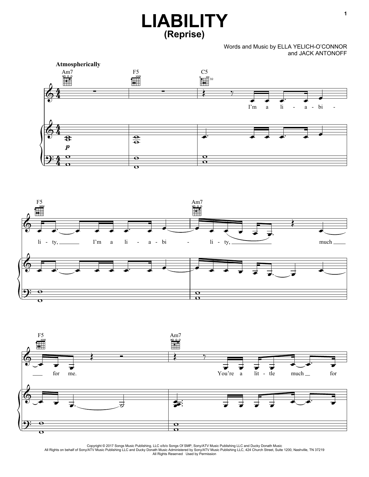 Liability (Reprise) (Piano, Vocal & Guitar (Right-Hand Melody))