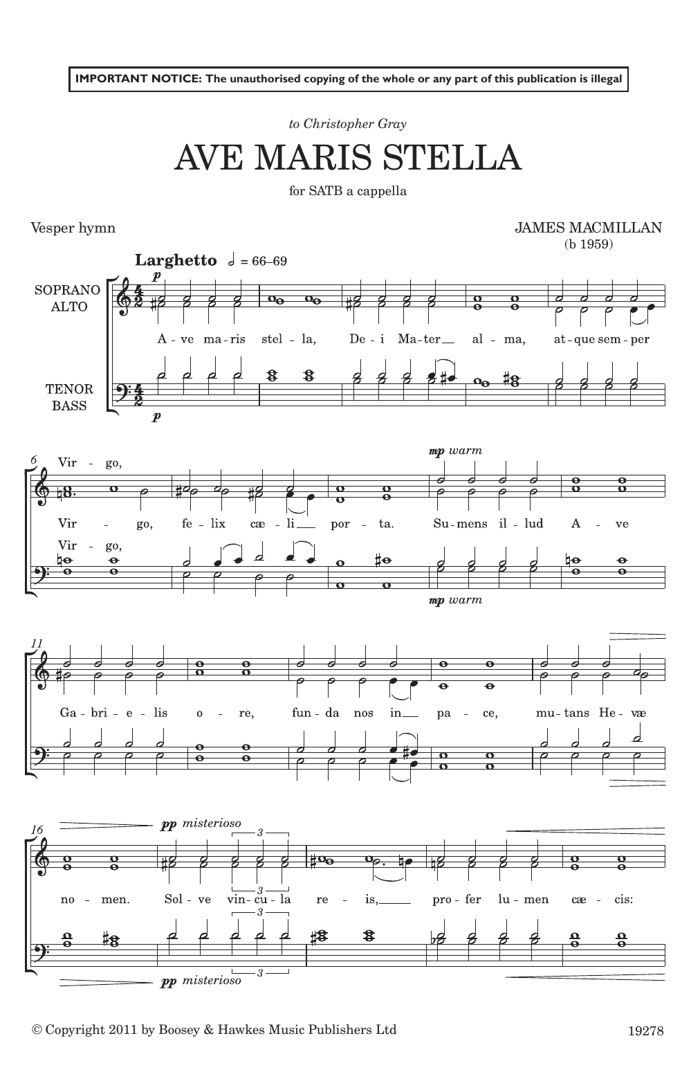 Ave Maris Stella (SATB Choir)