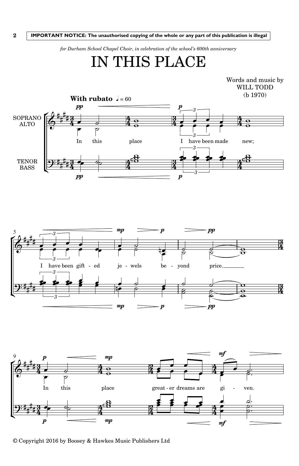 In This Place (SATB Choir)