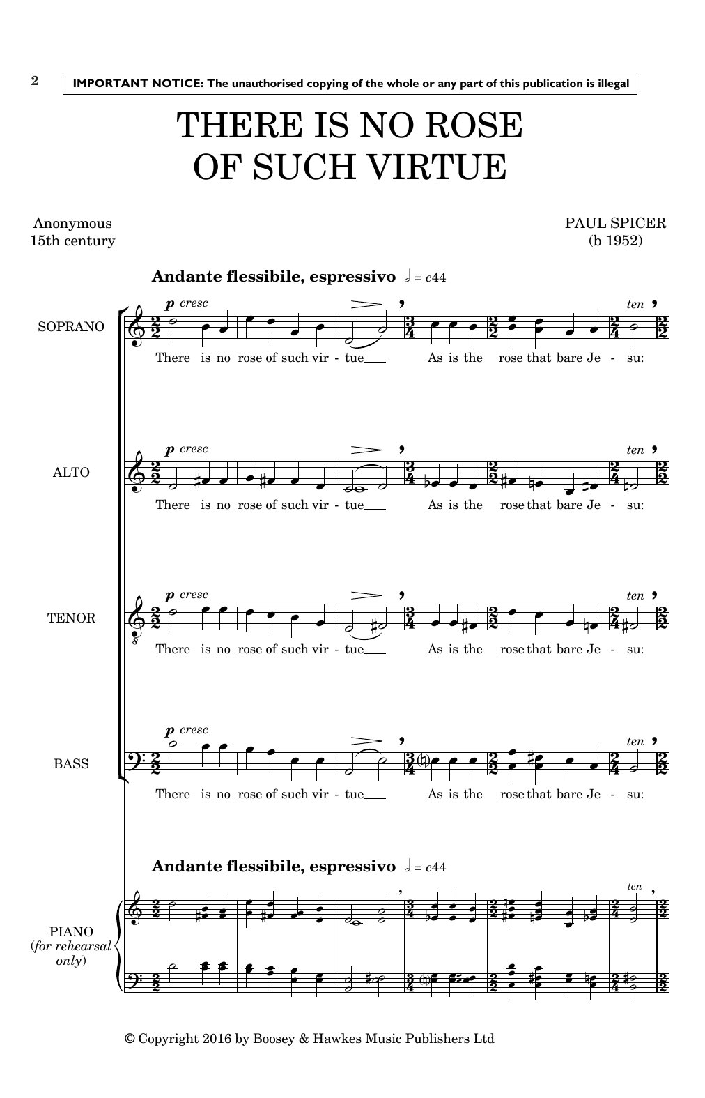 There Is No Rose Of Such Virtue (SATB Choir)