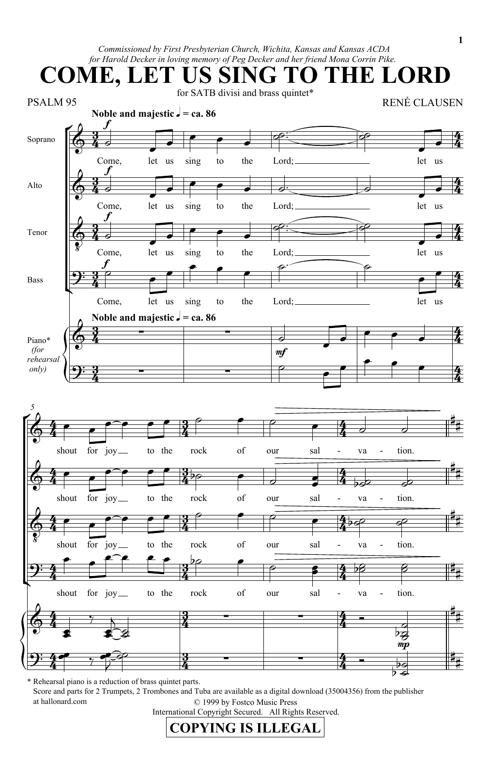 Come, Let Us Sing To The Lord (SSAATTBB Choir)