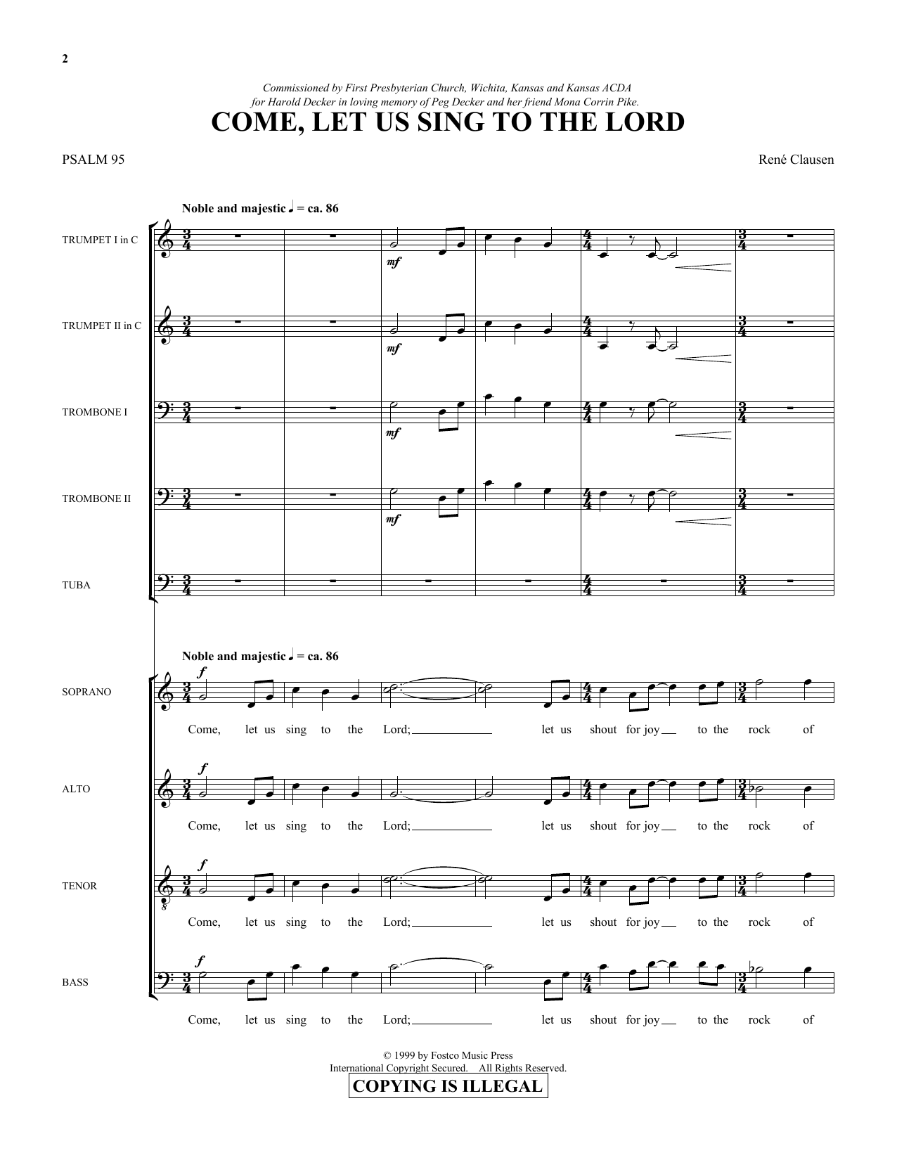 Come, Let Us Sing to the Lord - Score (Choir Instrumental Pak)