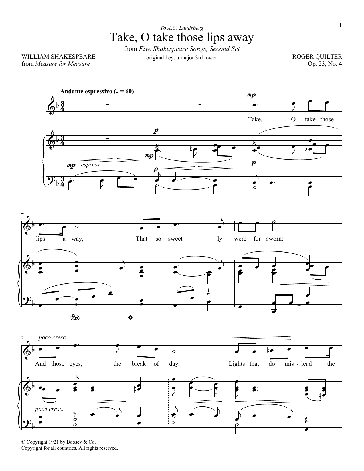 Take, O Take Those Lips Away, Op. 23, No. 4 (Piano & Vocal)