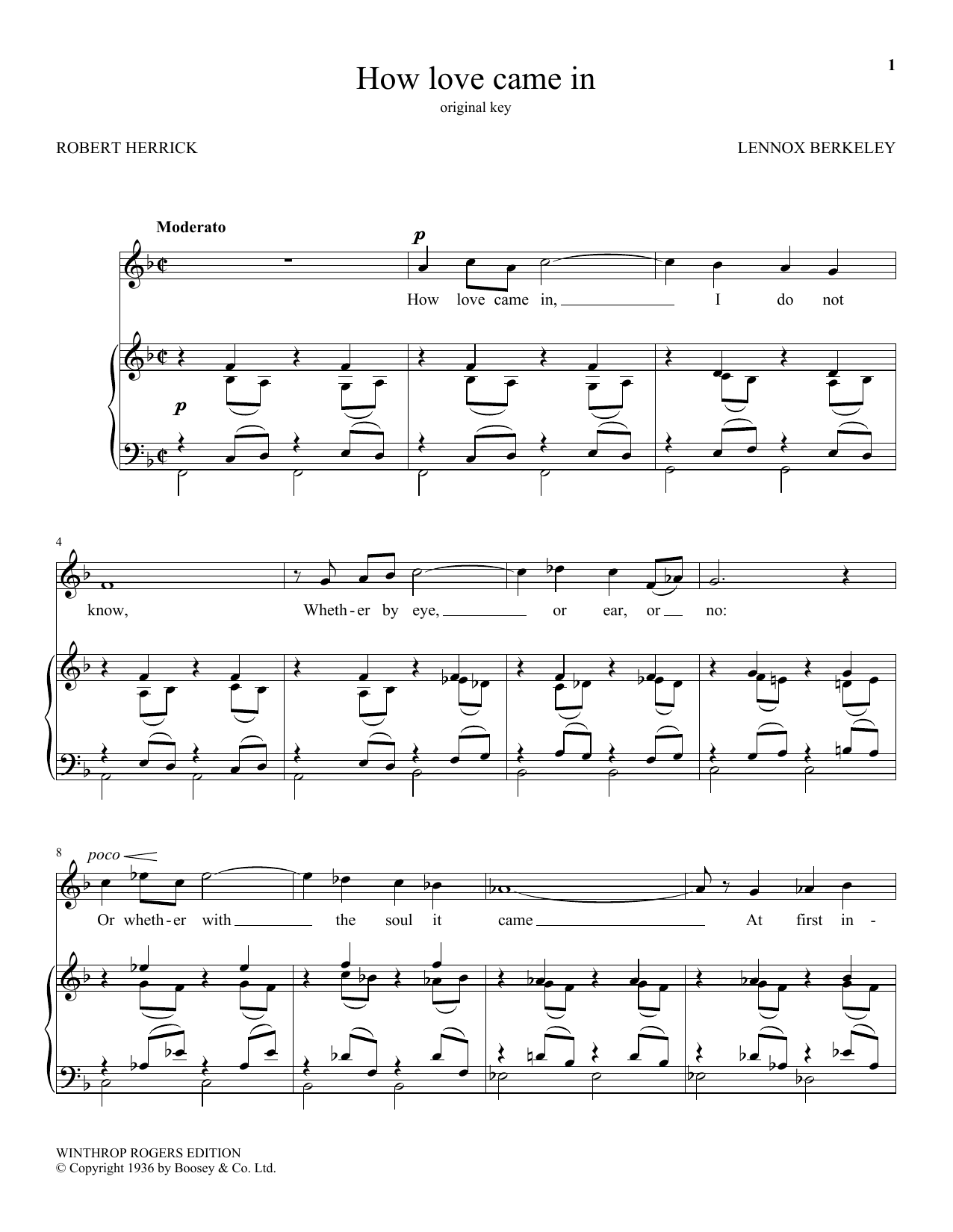 How Love Came In (Piano & Vocal)