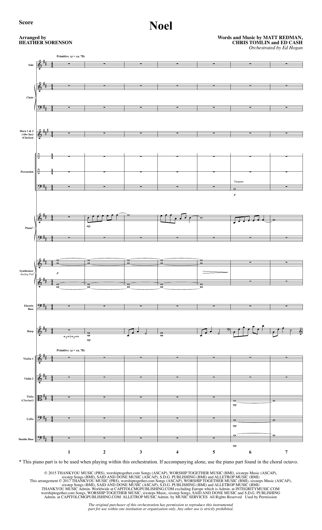 Noel (COMPLETE) sheet music for orchestra/band by Chris Tomlin, Ed Cash, Heather Sorenson and Matt Redman. Score Image Preview.