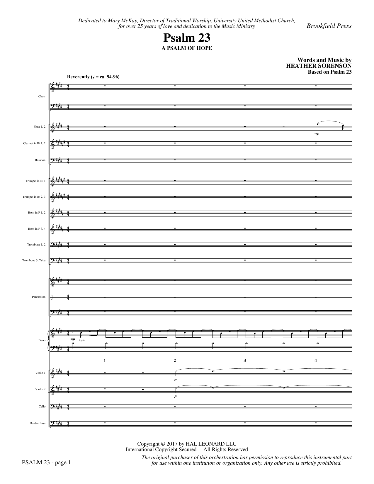Psalm 23 (COMPLETE) sheet music for orchestra/band by Heather Sorenson and Based on Psalm 23. Score Image Preview.