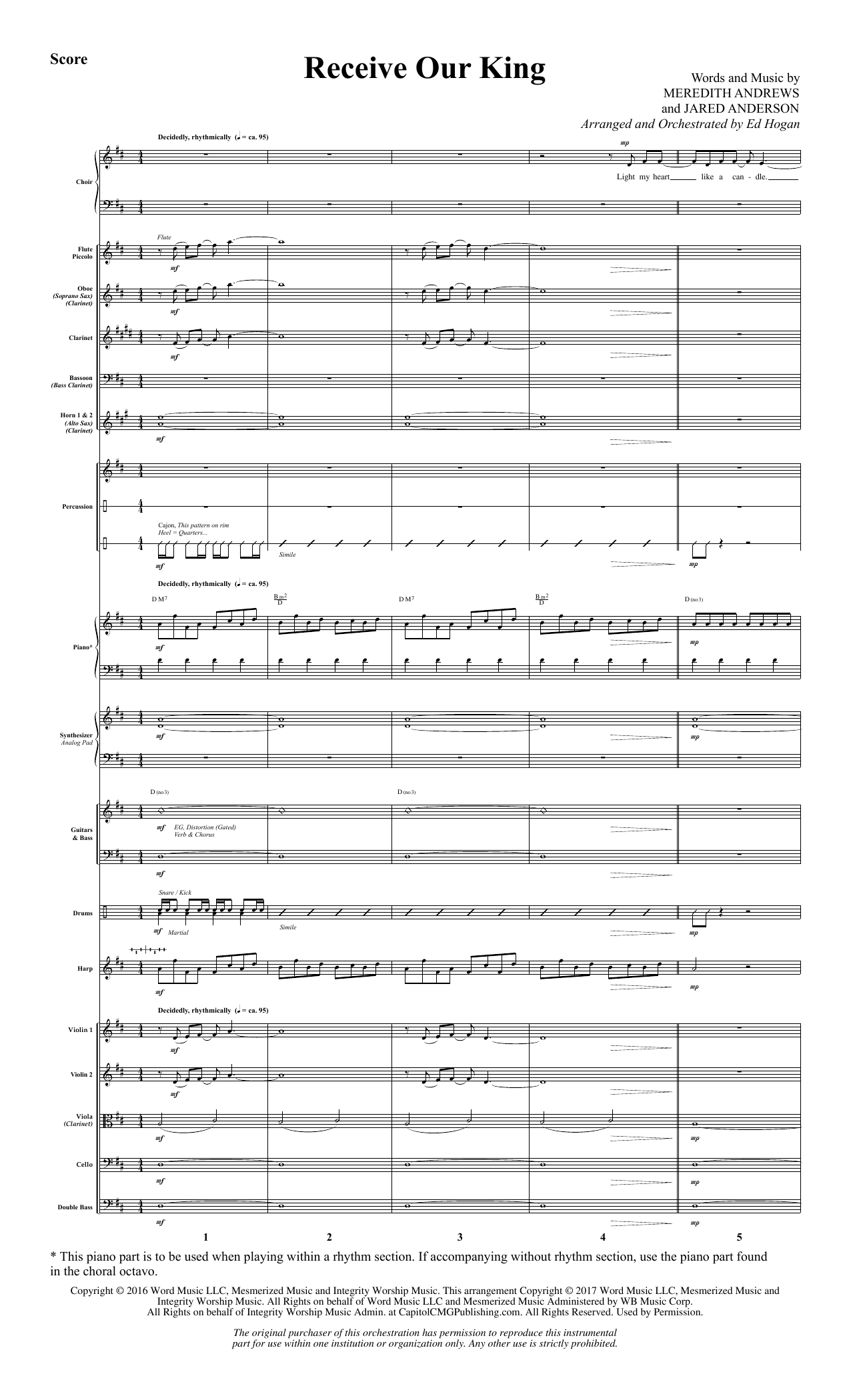 Receive Our King (COMPLETE) sheet music for orchestra/band by Ed Hogan and Meredith Andrews. Score Image Preview.