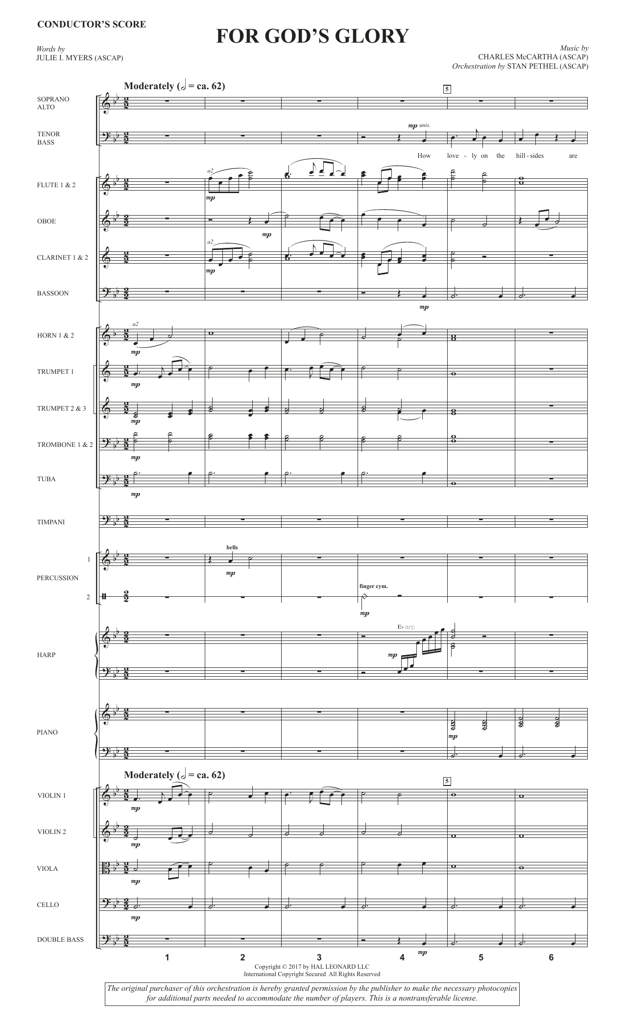 For God's Glory (COMPLETE) sheet music for orchestra/band by Julie I. Myers and Charles McCartha. Score Image Preview.