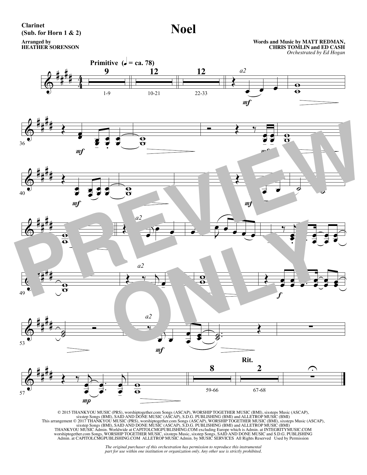 Noel (feat. Lauren Daigle) (arr. Heather Sorenson) - Clarinet (sub. Horn 1-2) (Choir Instrumental Pak)