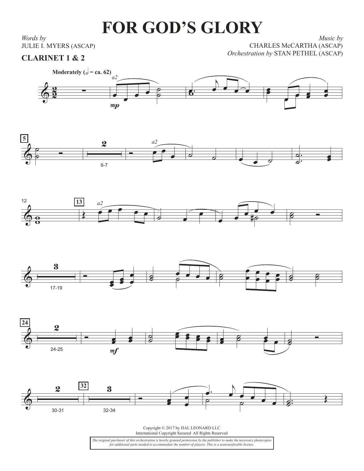 For God's Glory - Bb Clarinet 1 & 2 (Choir Instrumental Pak)