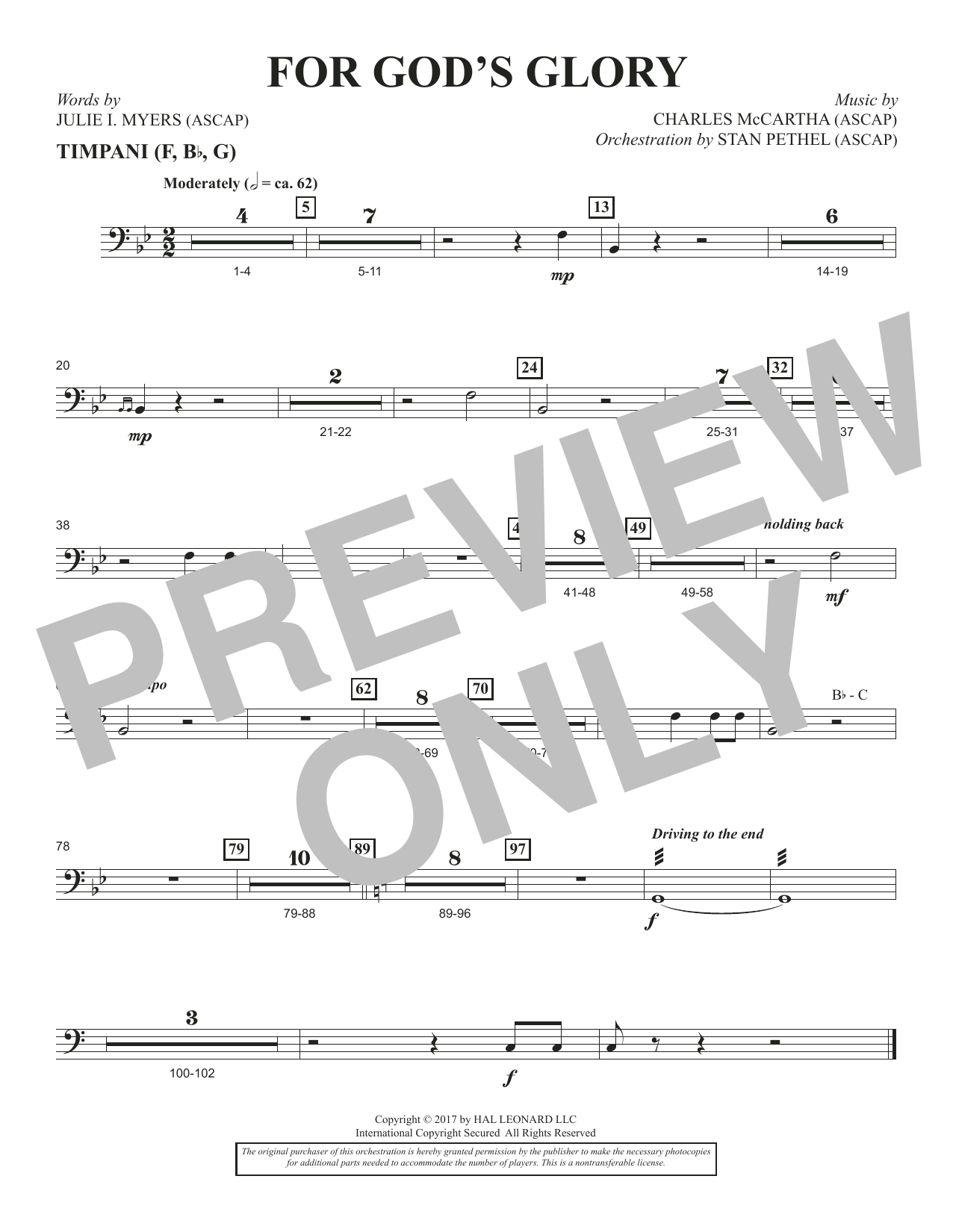 For God's Glory - Timpani (Choir Instrumental Pak)