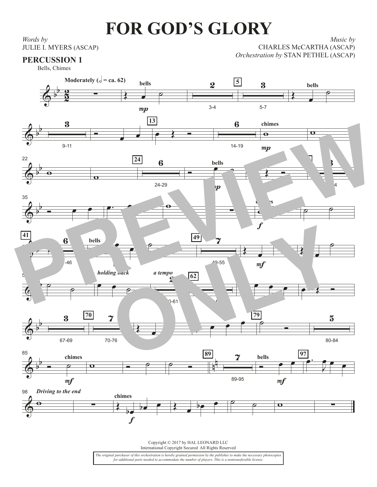 For God's Glory - Percussion 1 (Choir Instrumental Pak)