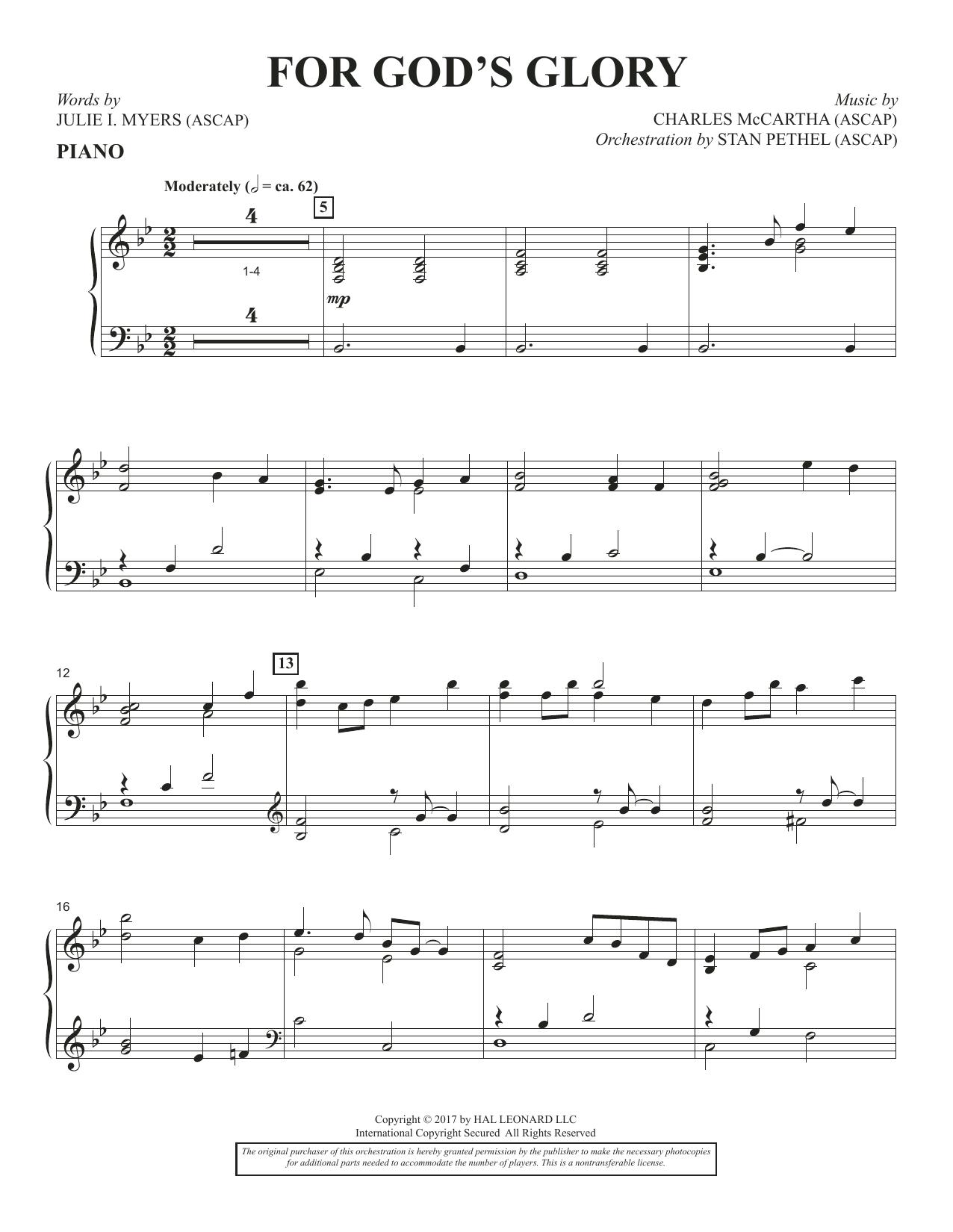 For God's Glory - Piano (Choir Instrumental Pak)