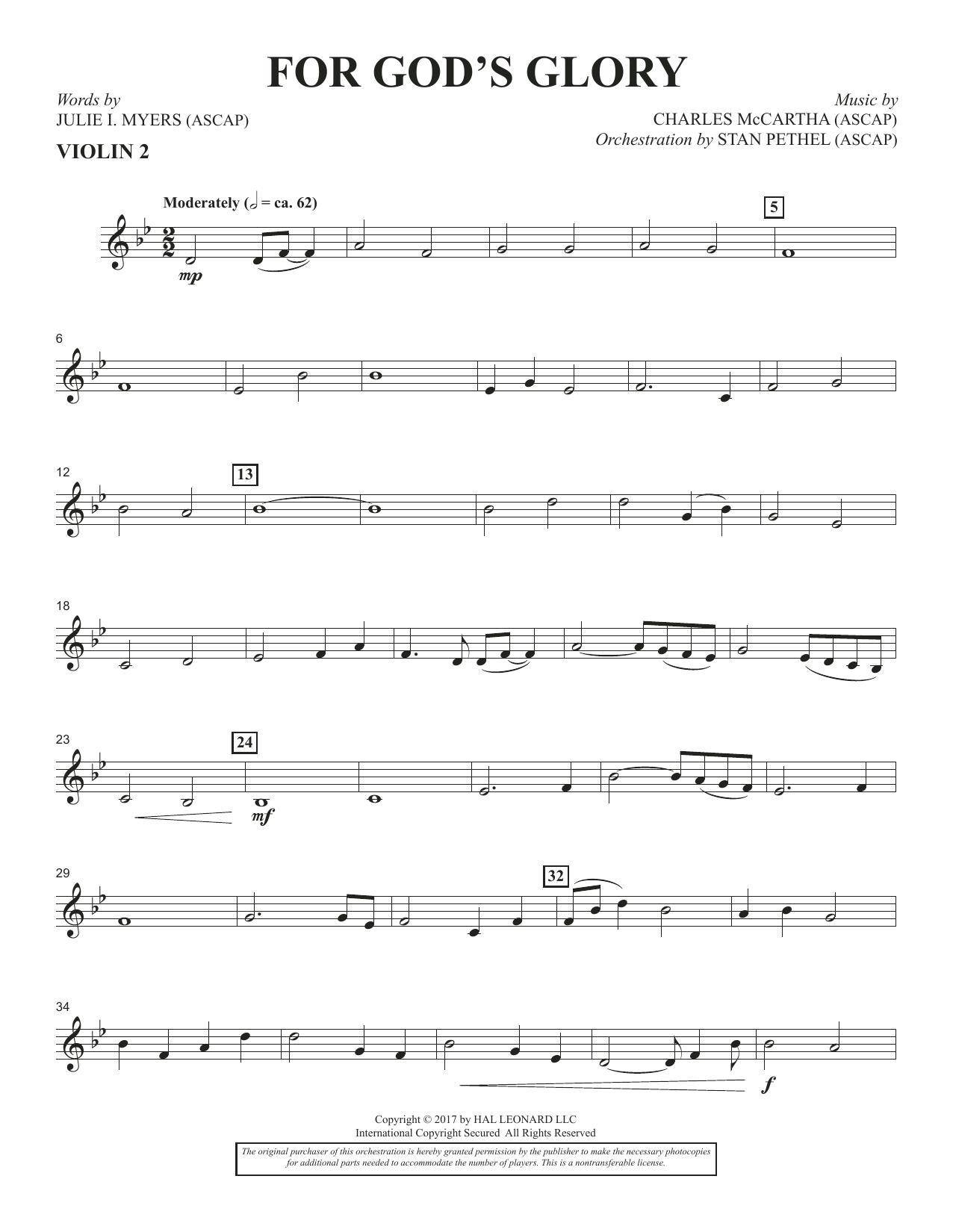 For God's Glory - Violin 2 (Choir Instrumental Pak)