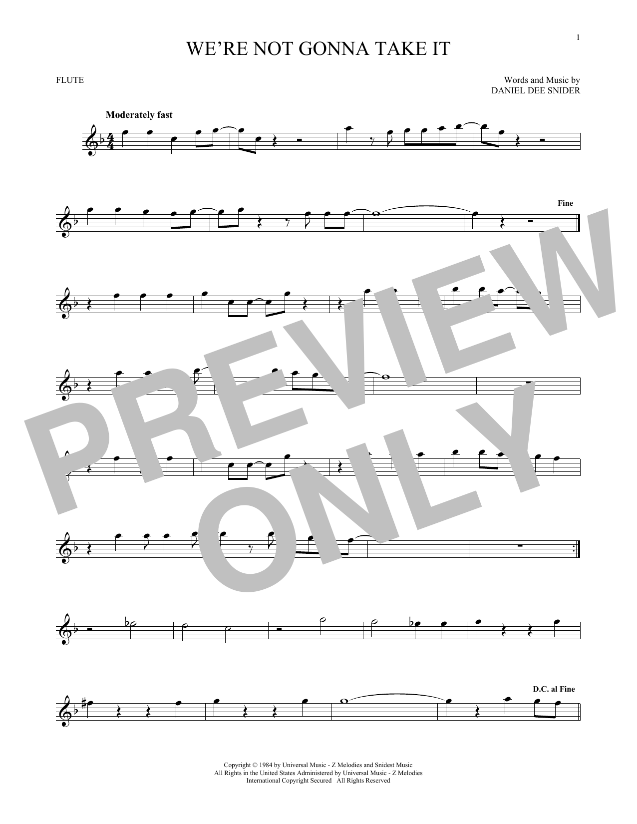 We're Not Gonna Take It (Flute Solo)