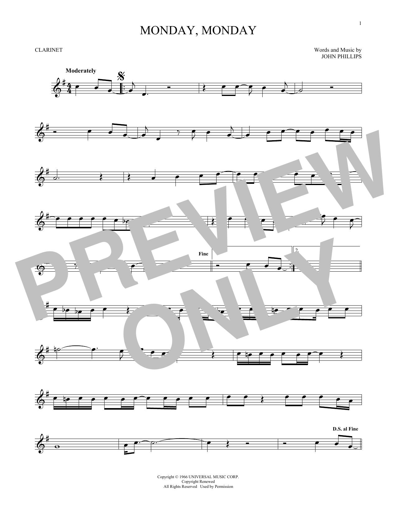 Monday, Monday (Clarinet Solo)