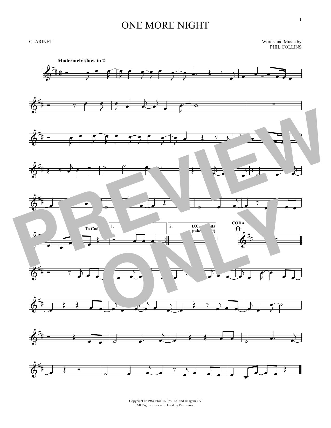One More Night (Clarinet)