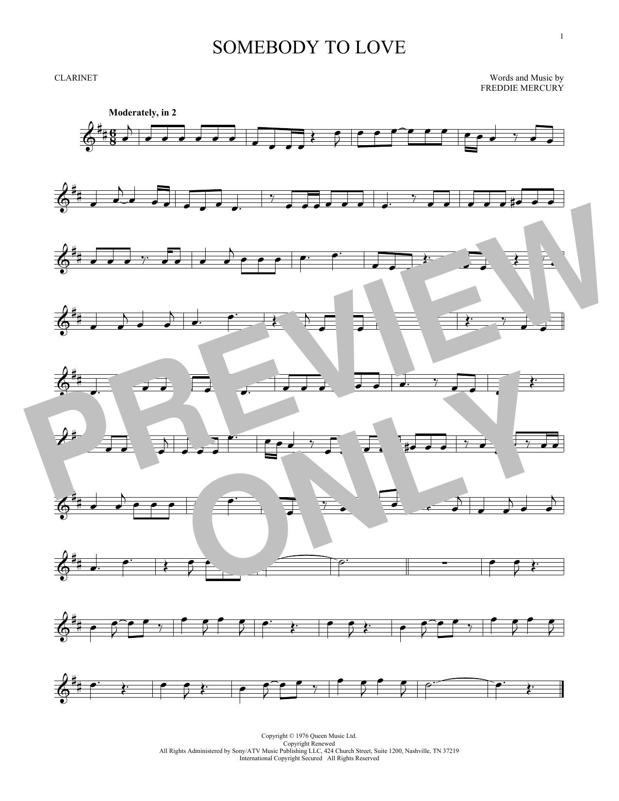 Somebody To Love (Clarinet)