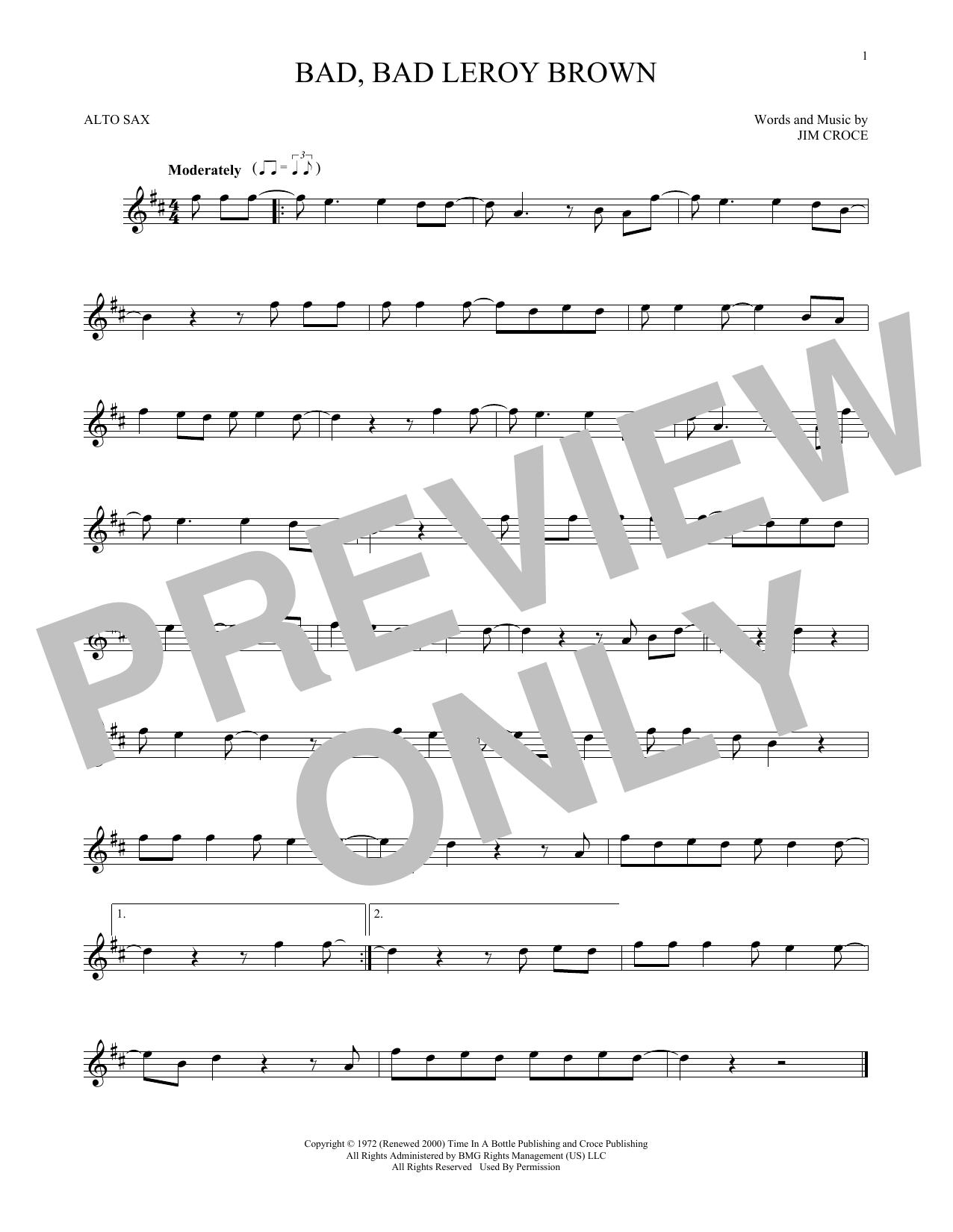 Bad, Bad Leroy Brown (Alto Sax Solo)