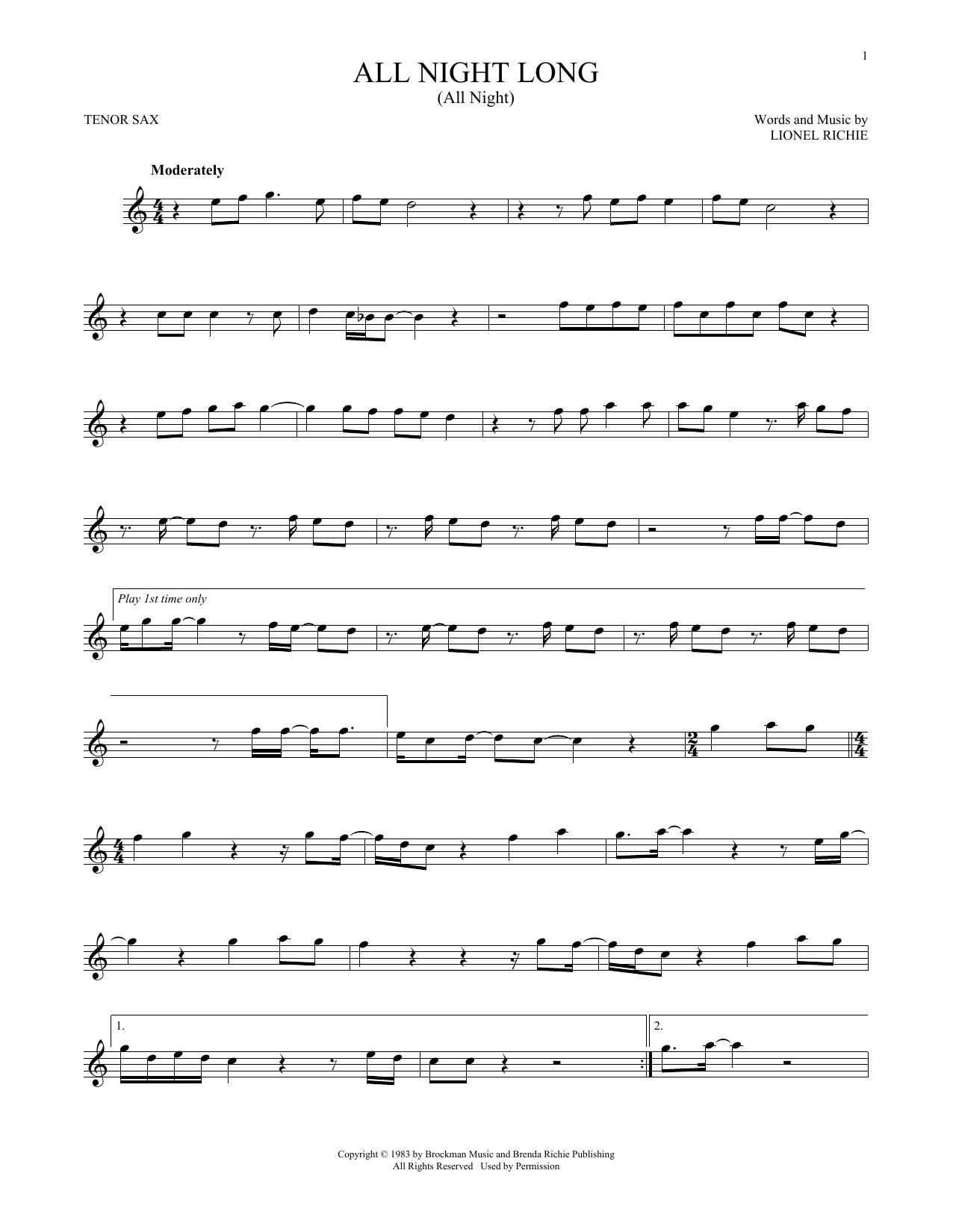 All Night Long (All Night) (Tenor Sax Solo)