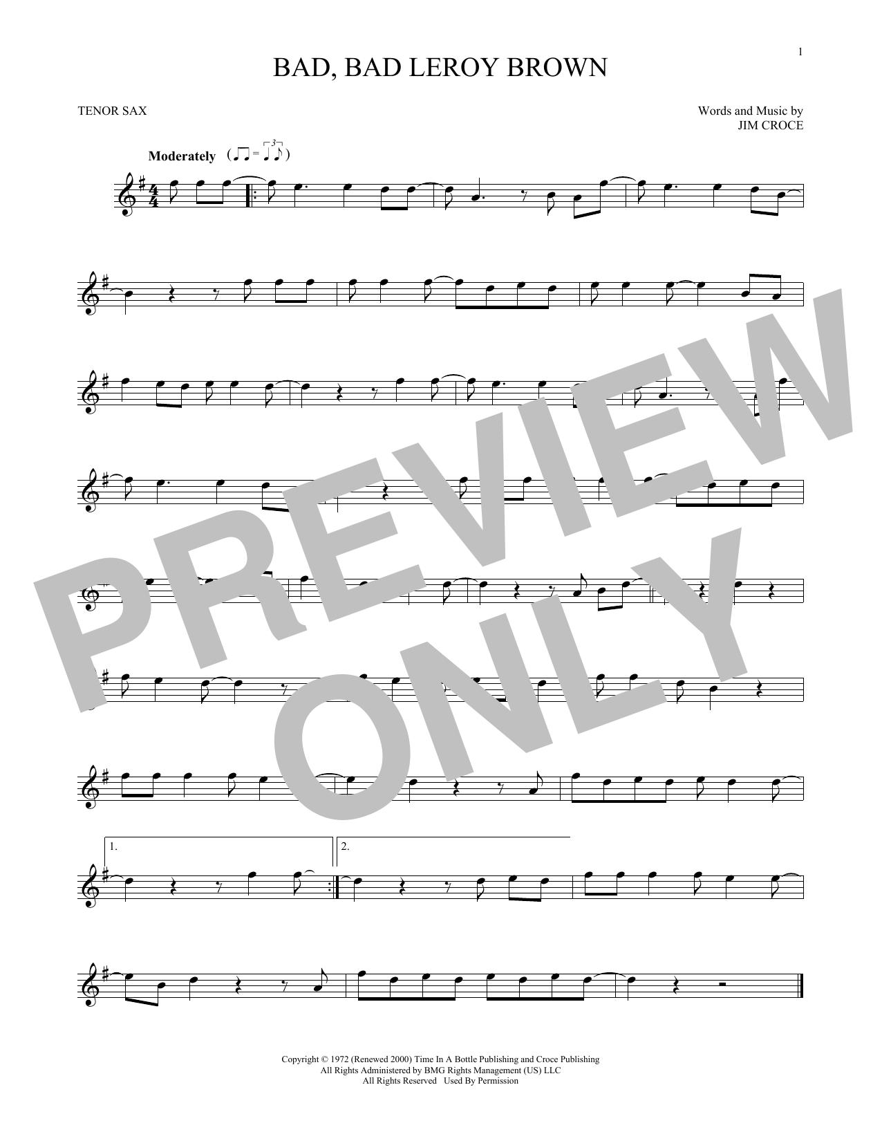 Bad, Bad Leroy Brown (Tenor Sax Solo)