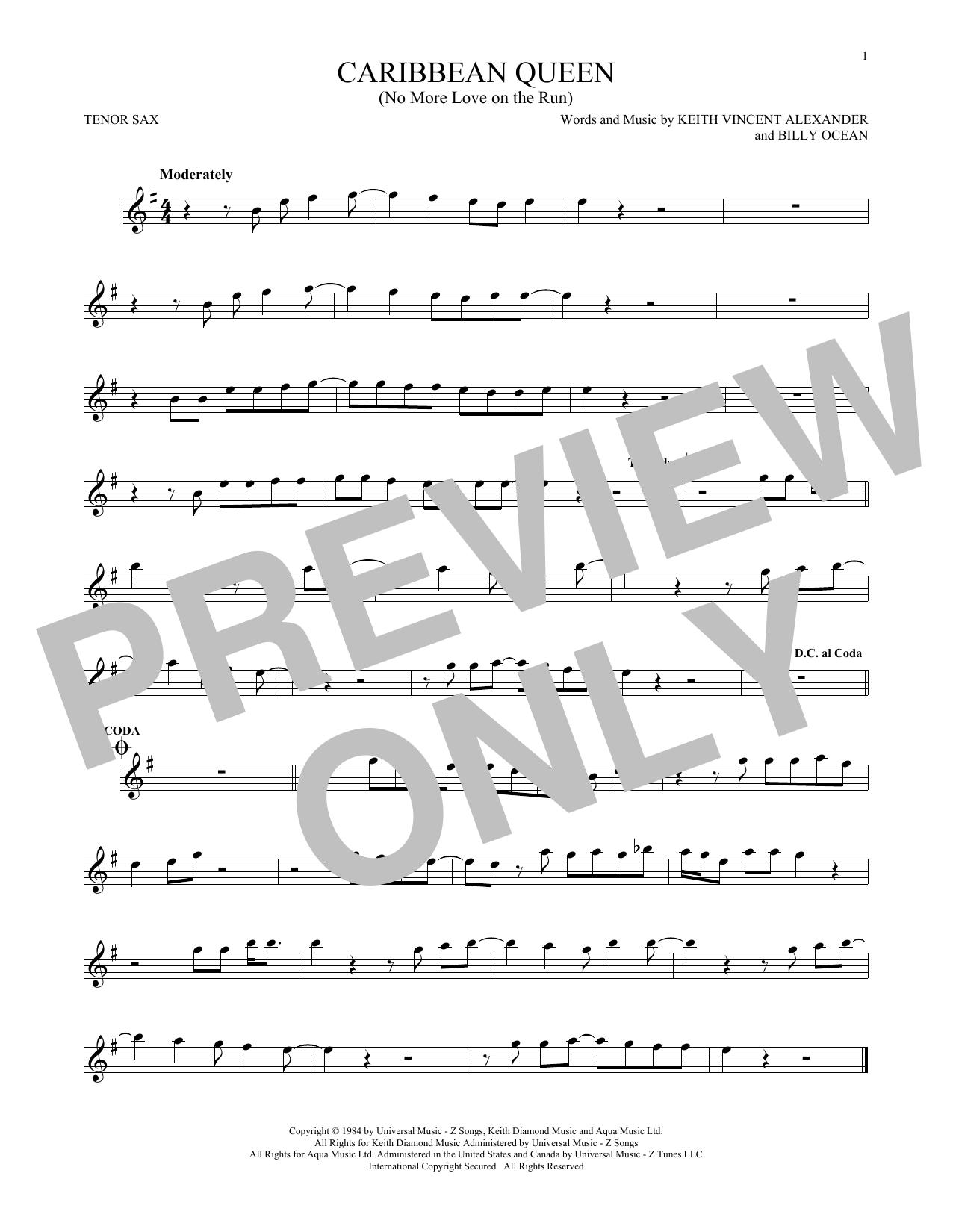 Caribbean Queen (No More Love On The Run) (Tenor Sax Solo)