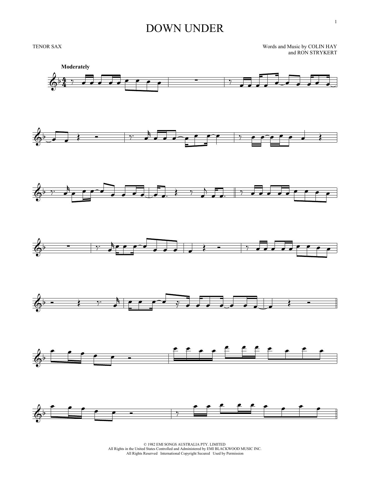 Down Under (Tenor Sax Solo)