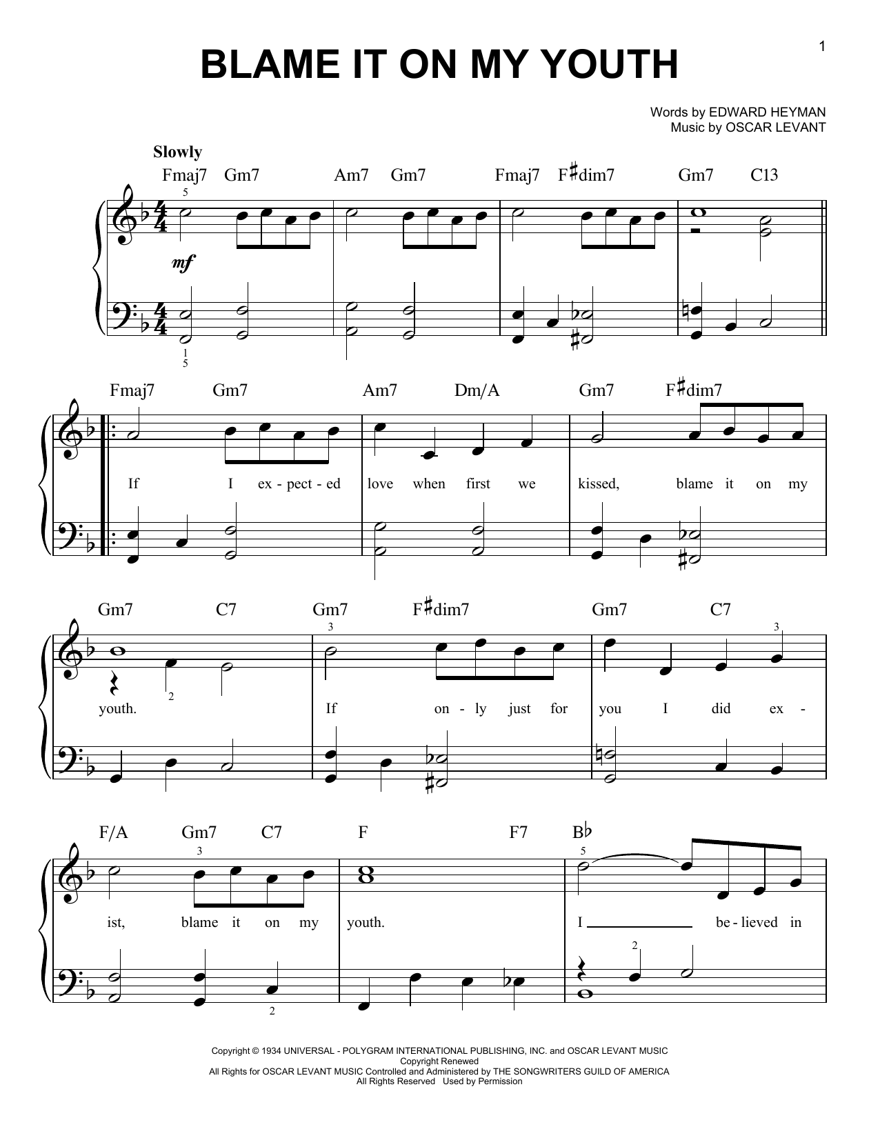 Blame It On My Youth (Easy Piano)