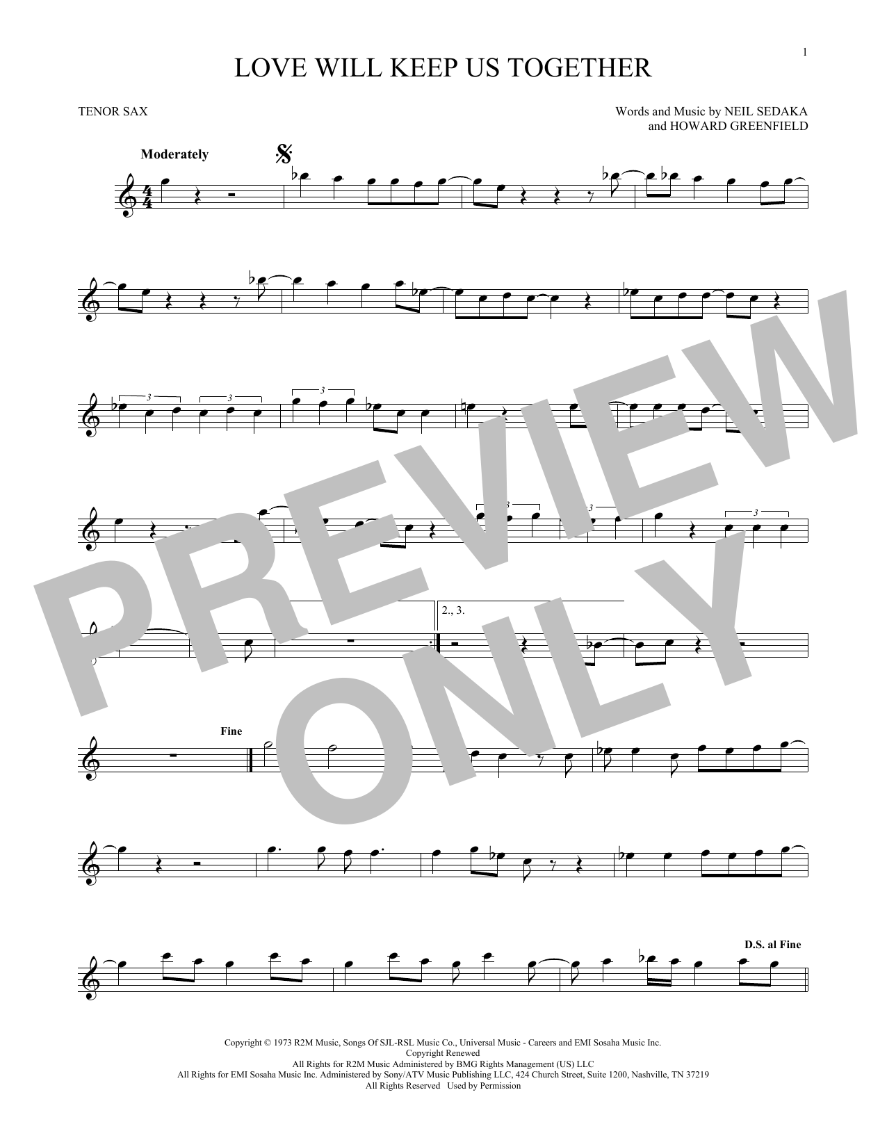 Love Will Keep Us Together (Tenor Saxophone)