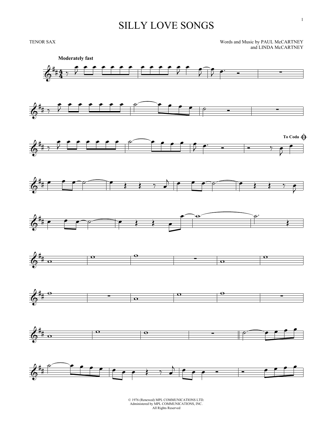 Silly Love Songs (Tenor Sax Solo)
