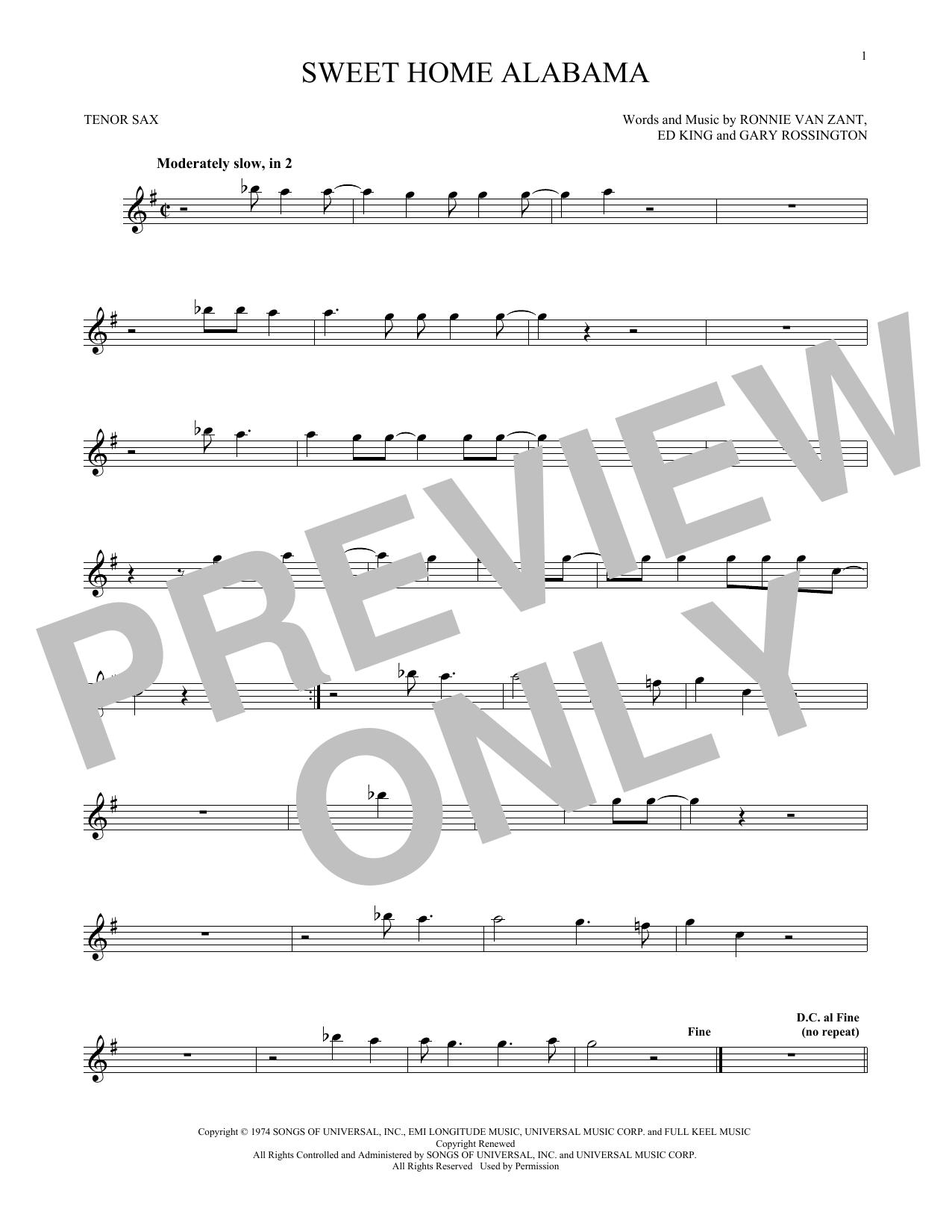 Sweet Home Alabama (Tenor Sax Solo)