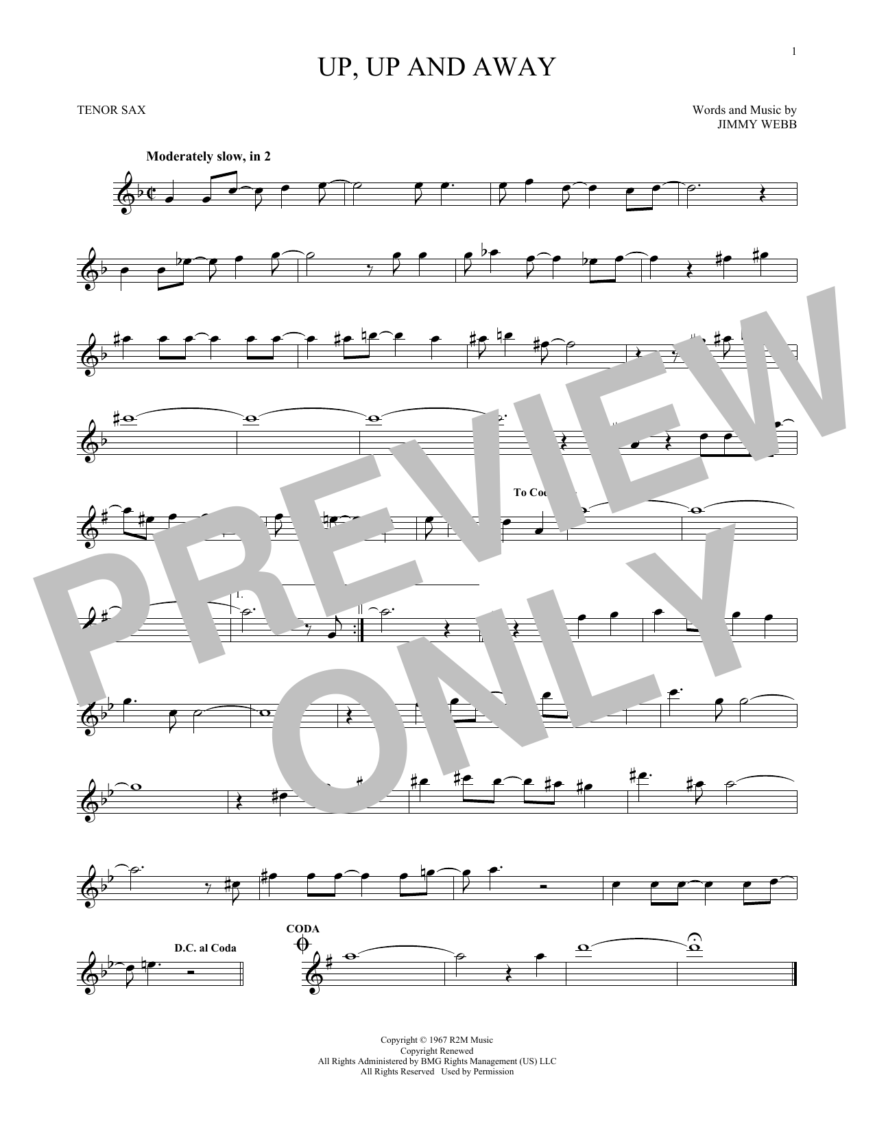 Up, Up And Away (Tenor Sax Solo)