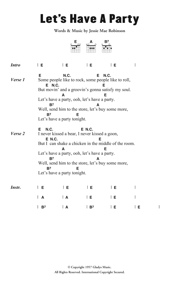Let's Have A Party Sheet Music
