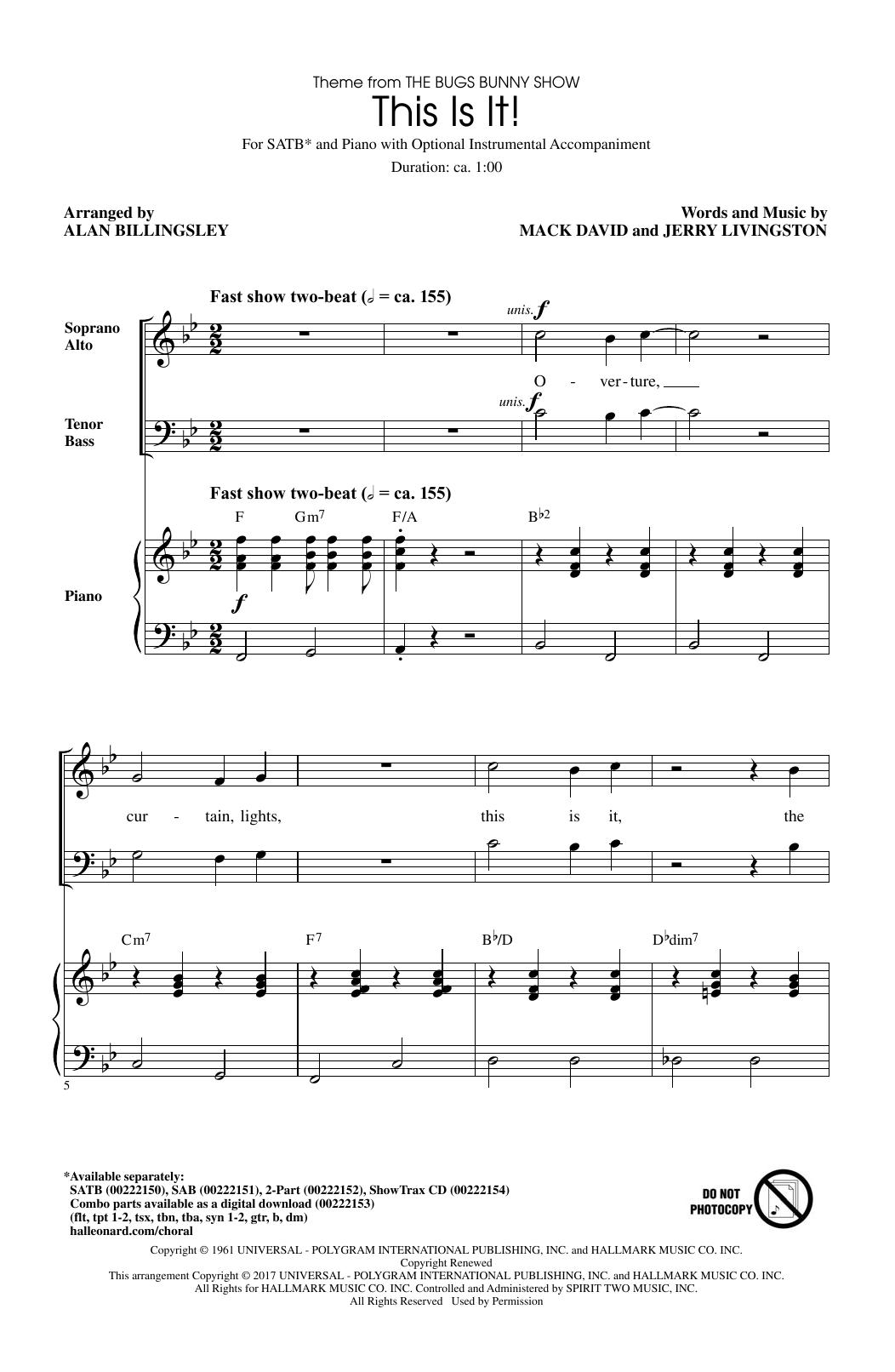 This Is It (arr. Alan Billingsley) (SATB Choir)