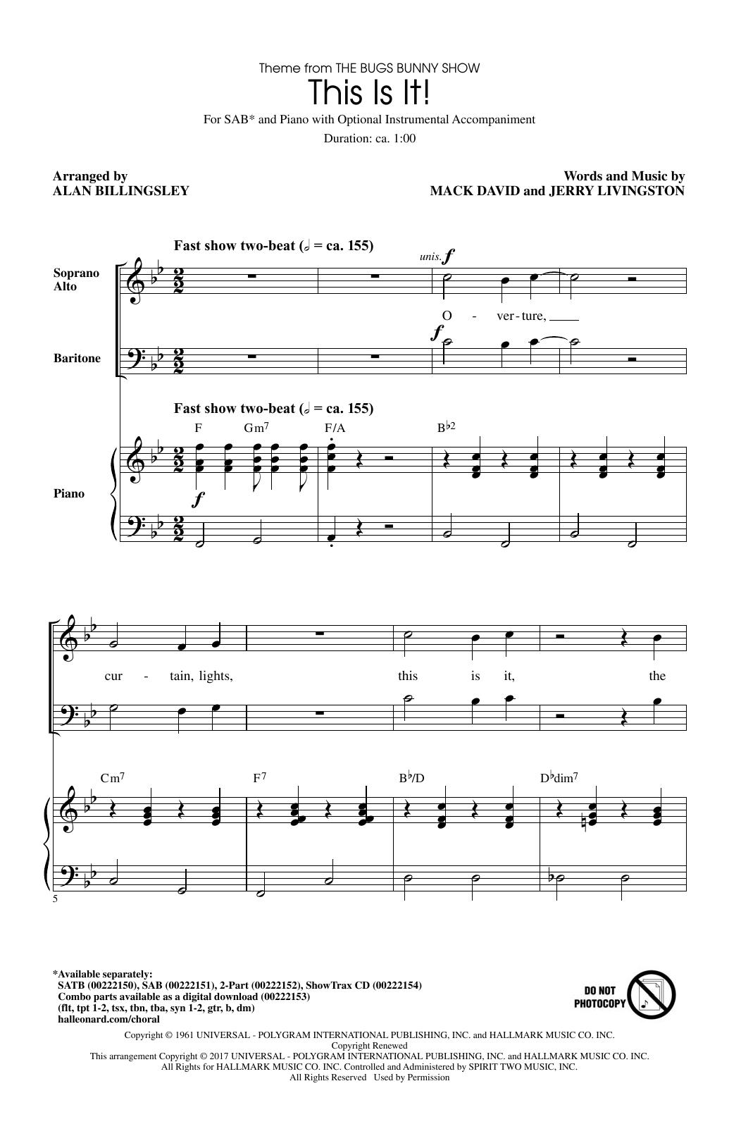 This Is It (arr. Alan Billingsley) (SAB Choir)