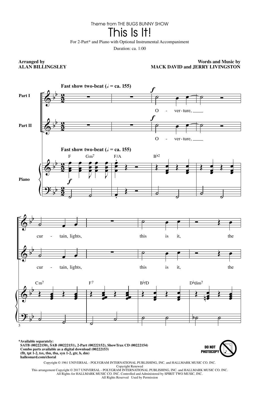 This Is It (arr. Alan Billingsley) (2-Part Choir)