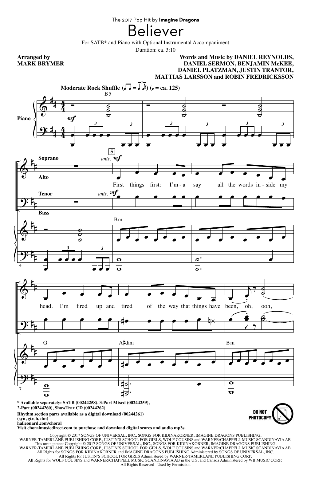 Believer (arr. Mark Brymer) Sheet Music