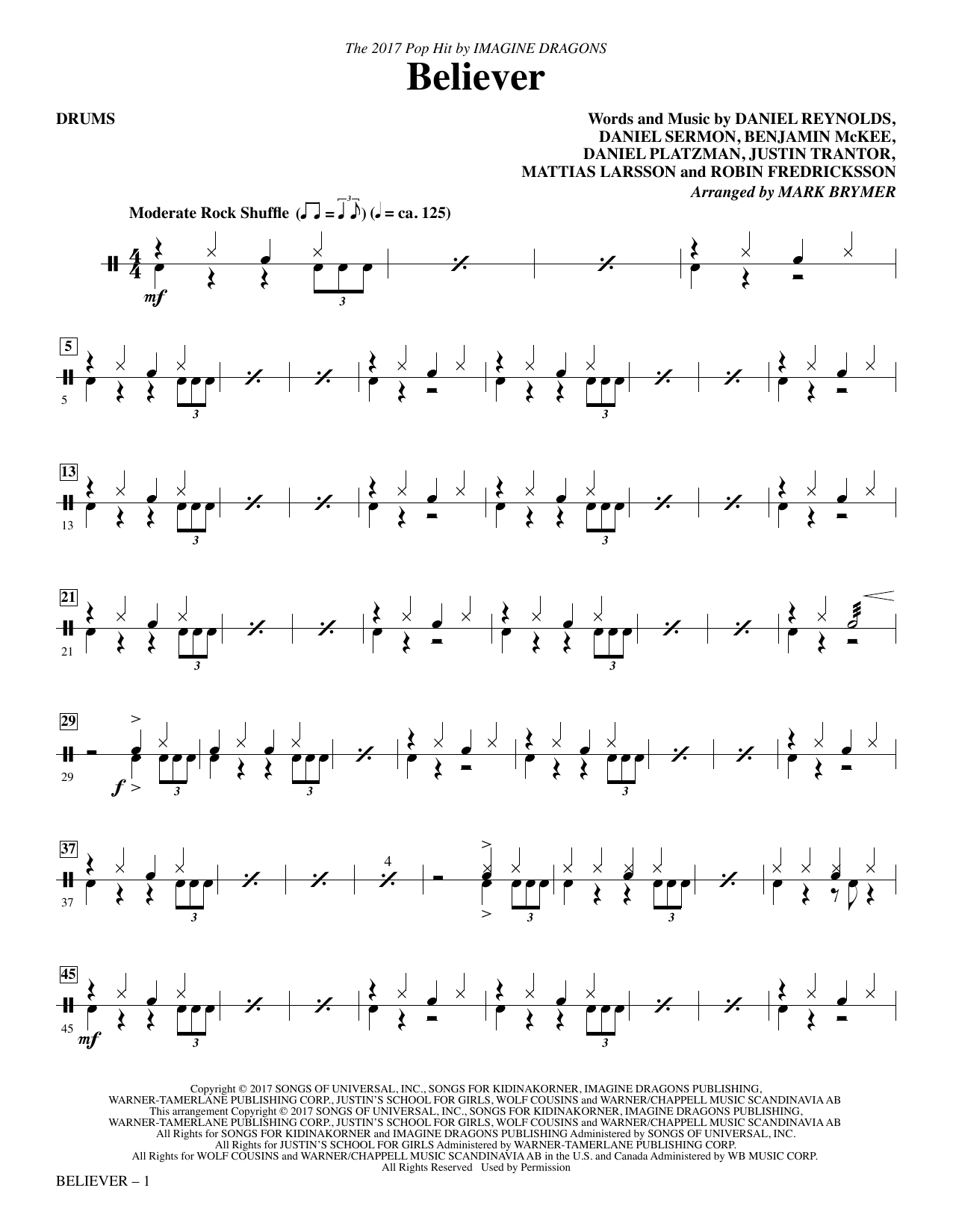 Believer - Drums Sheet Music
