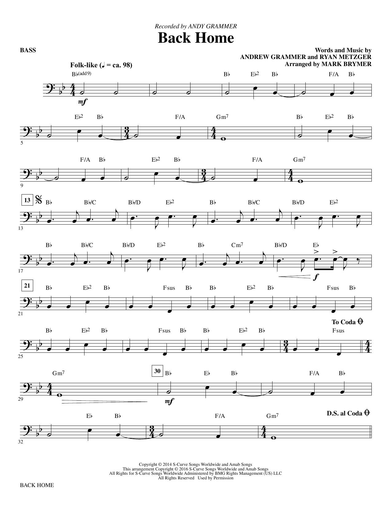Back Home - Bass (Choir Instrumental Pak)