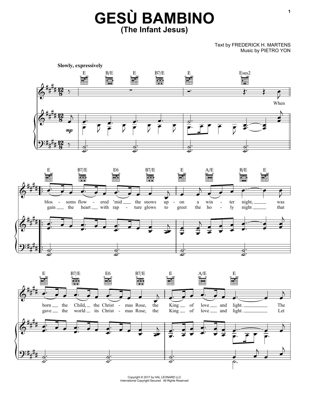 Gesu Bambino (The Infant Jesus) (Piano, Vocal & Guitar (Right-Hand Melody))