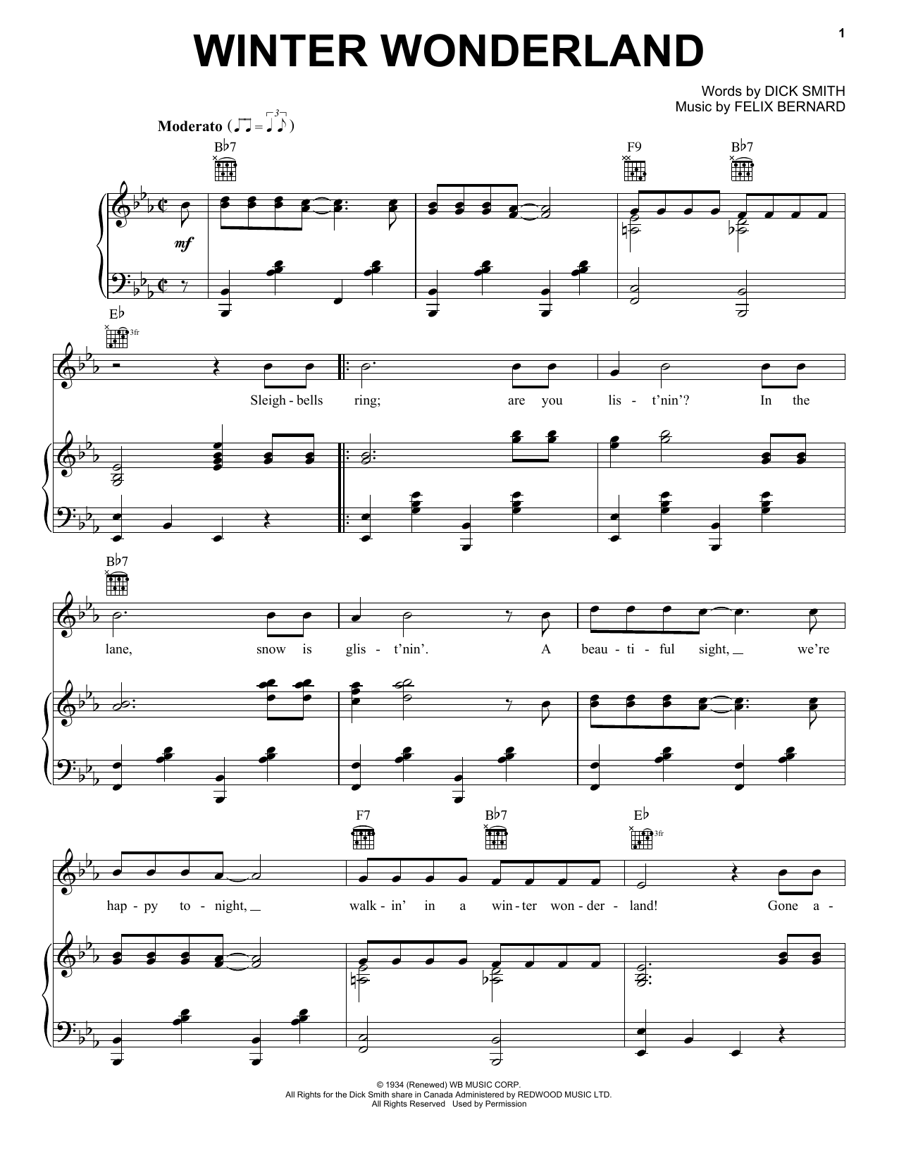 Winter Wonderland (Piano, Vocal & Guitar (Right-Hand Melody))