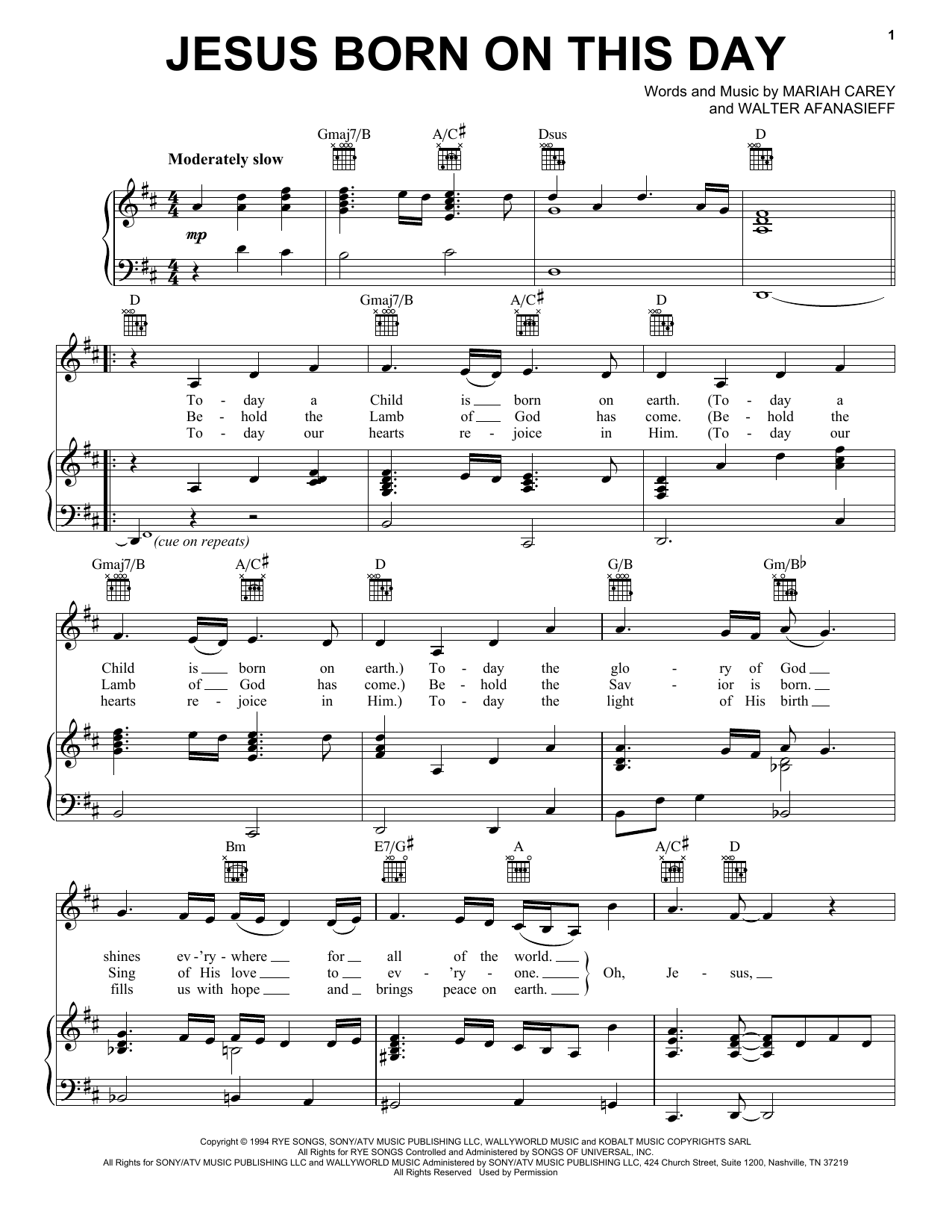 Jesus Born On This Day (Piano, Vocal & Guitar (Right-Hand Melody))