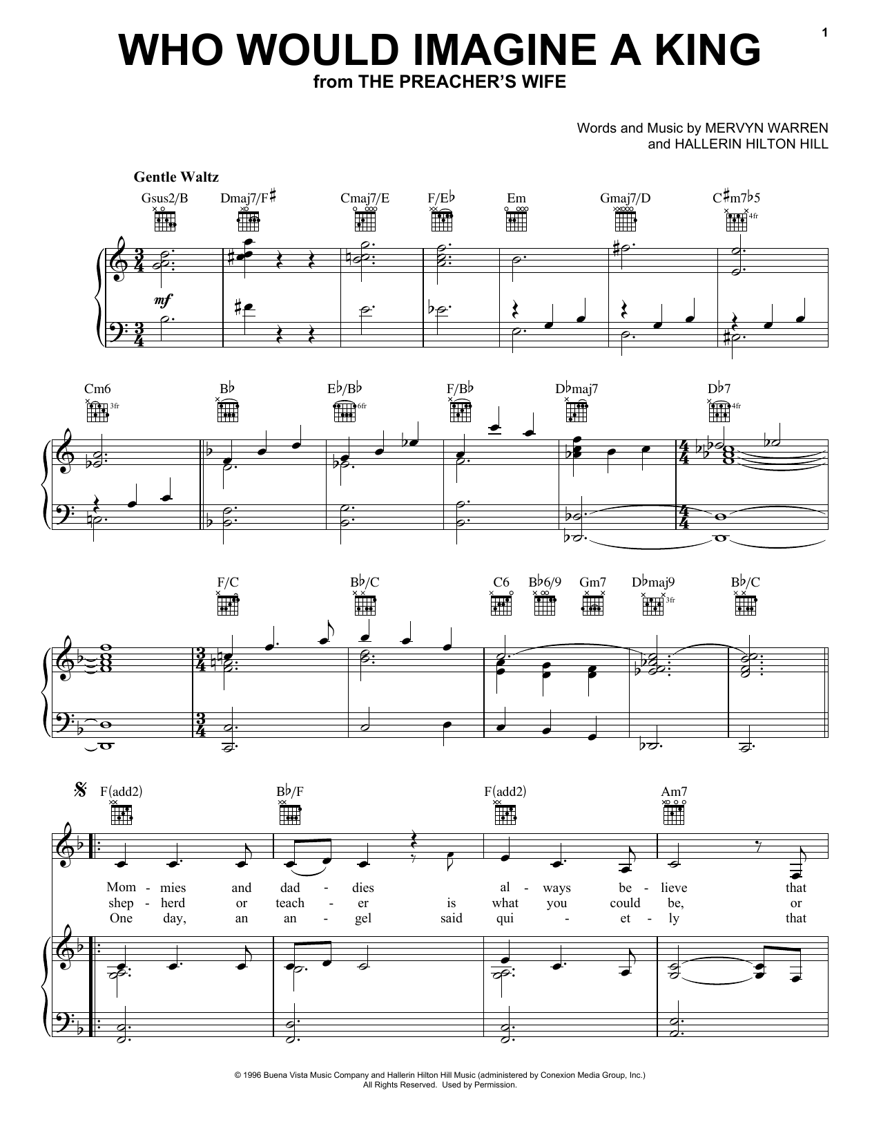 Who Would Imagine A King (Piano, Vocal & Guitar (Right-Hand Melody))
