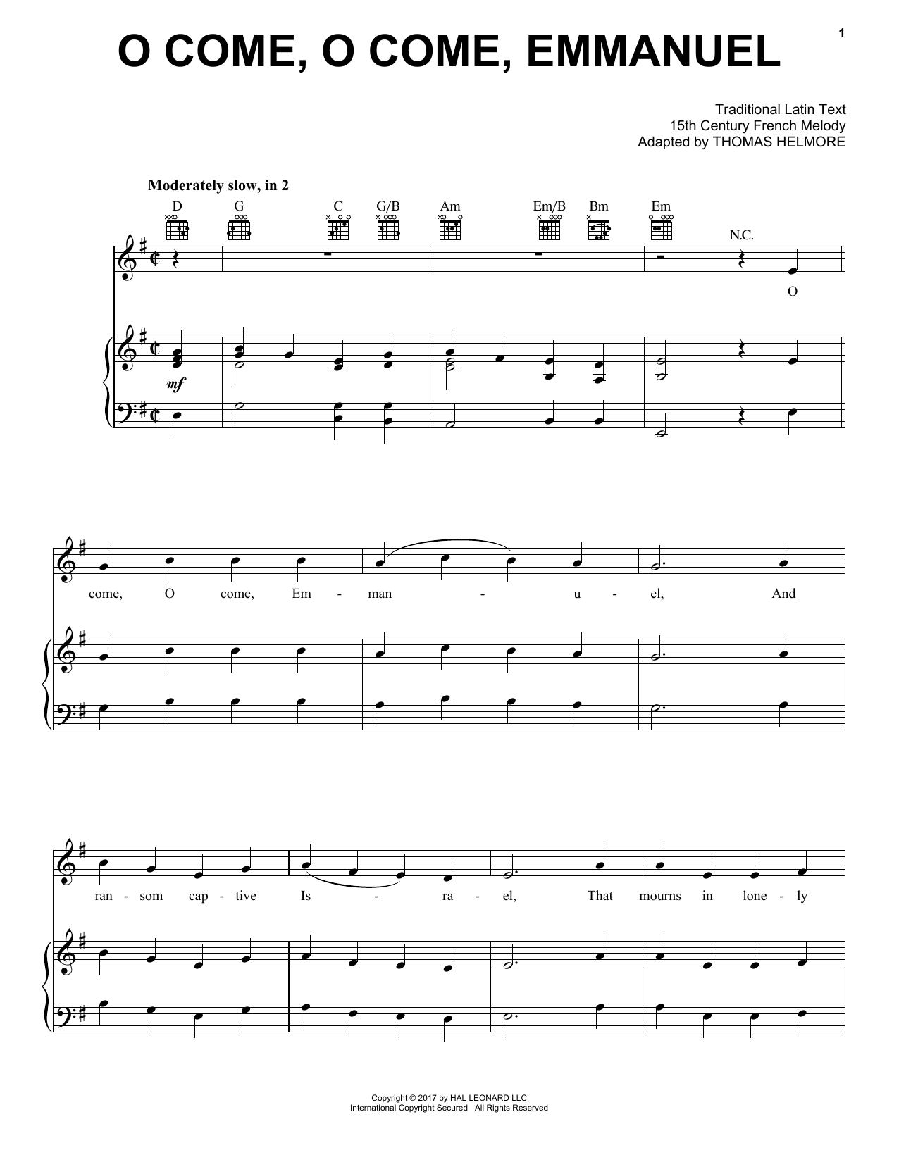 O Come, O Come, Emmanuel (Piano, Vocal & Guitar (Right-Hand Melody))