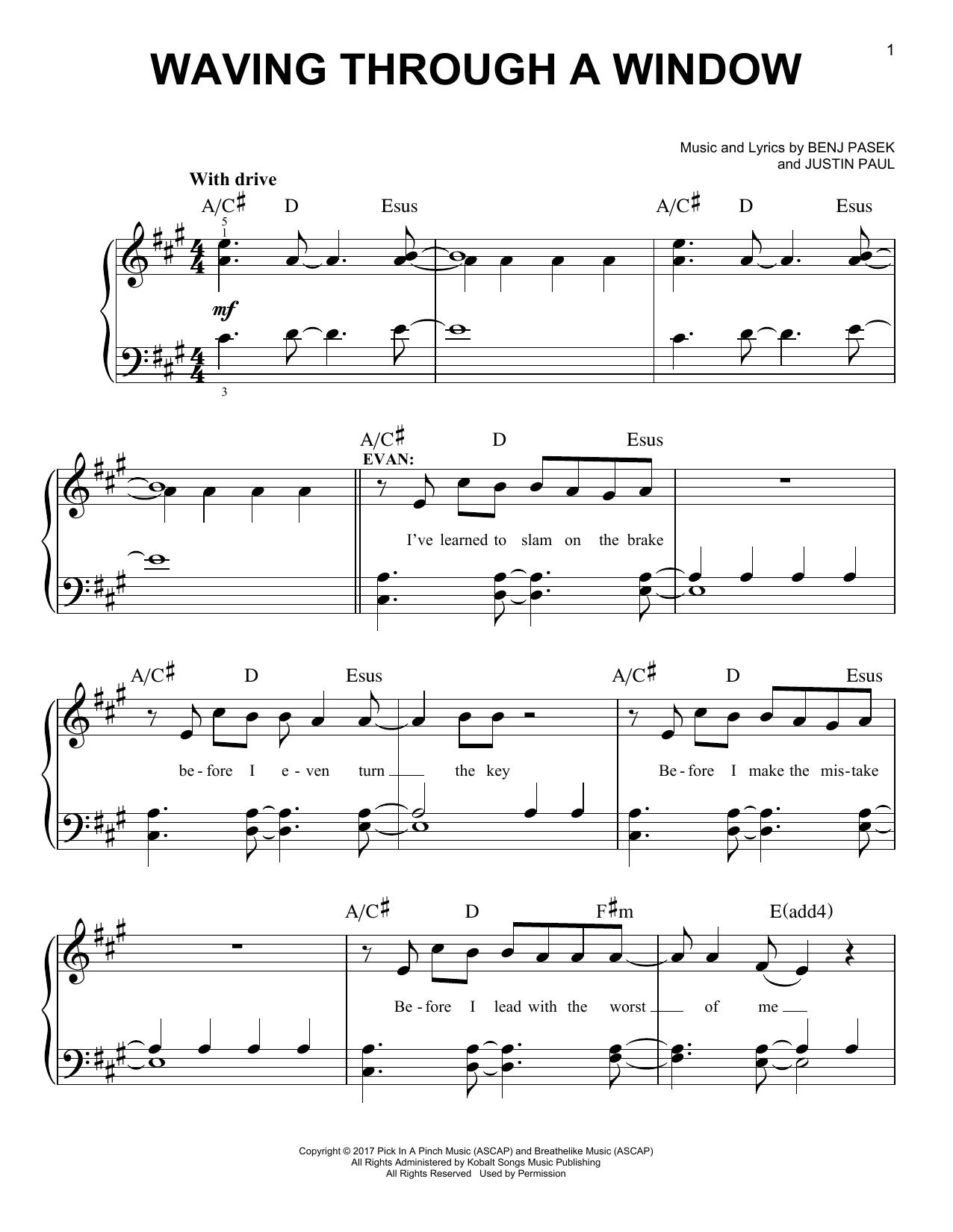 Waving Through A Window (Easy Piano)